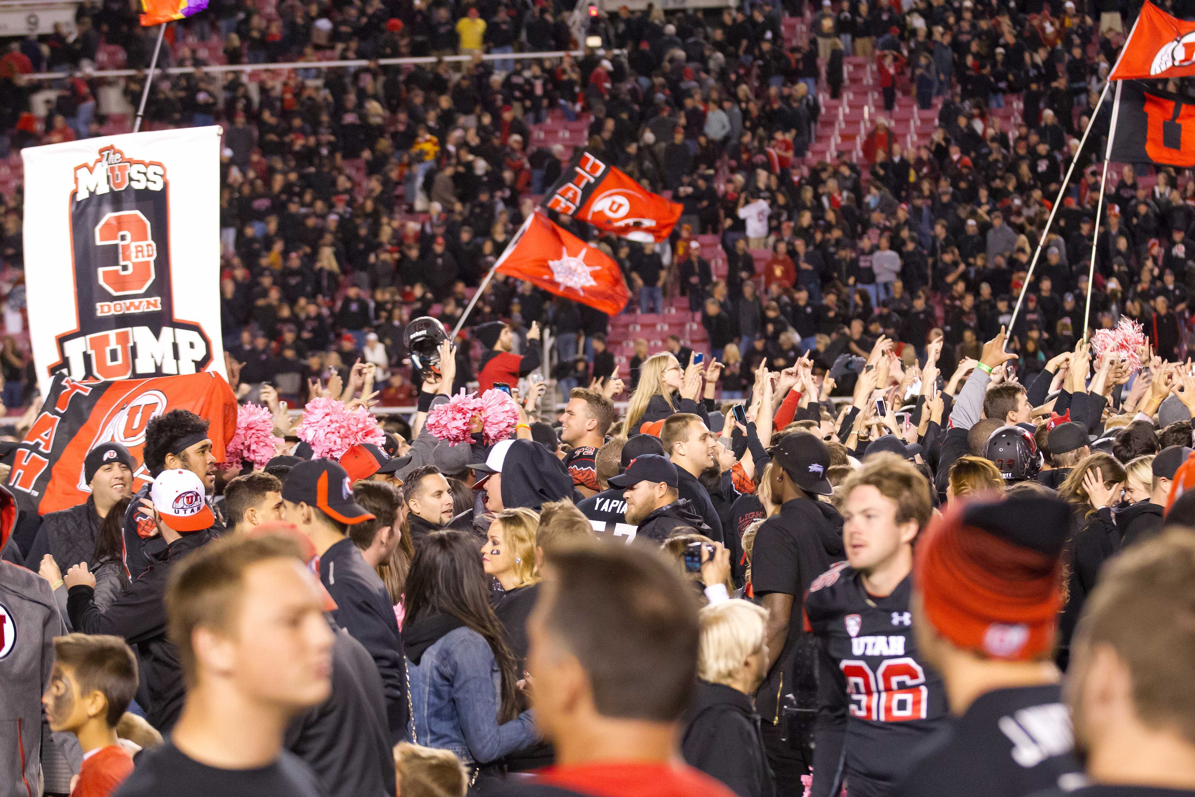 Utah's Fans Celebrated Wildly After Topping USC For The First Time Since Joining The Pac-12
