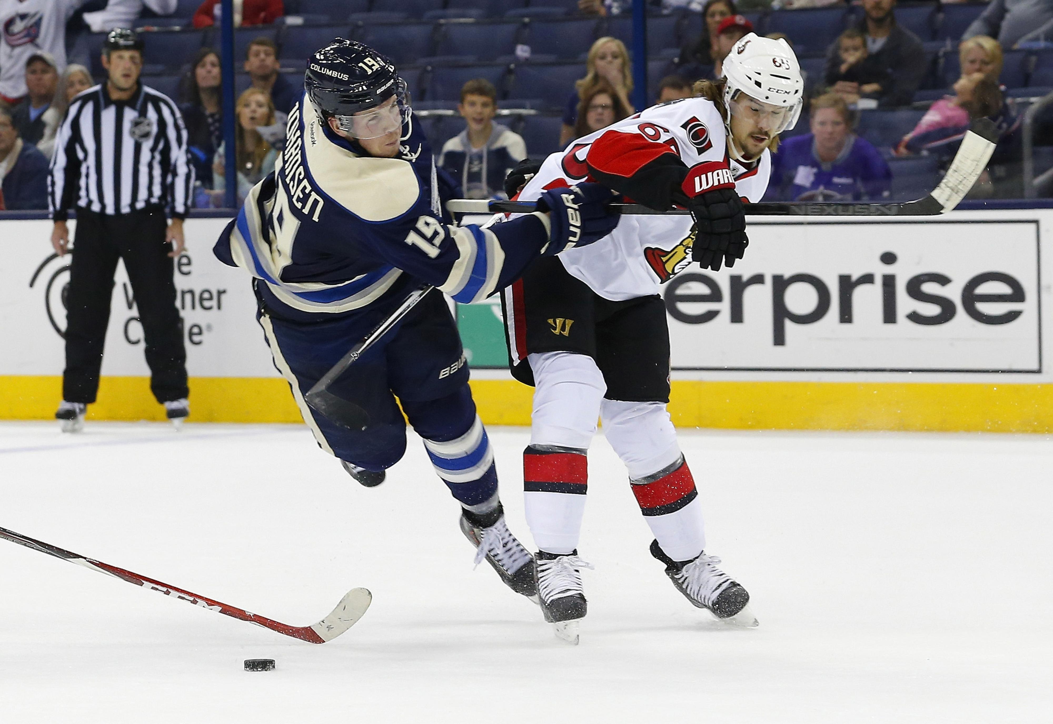 Erik Karlsson effortlessly parries Ryan Johansen.  Yes, the entire player.