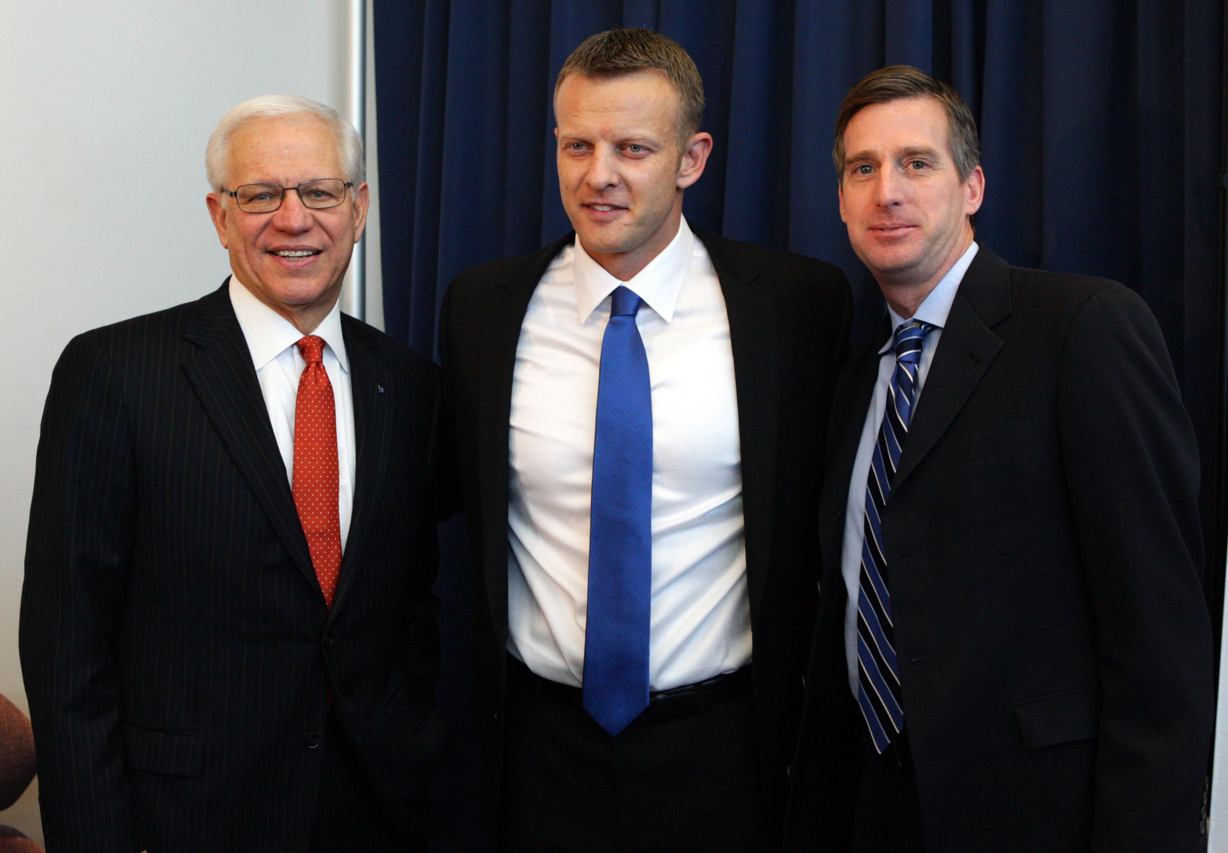 Dec 13, 2013; Boise, ID, USA; Boise State pesident Dr Bob Kustra (left,) head football coach Bryan Harsin, (center) and athletic director Mark Coyle.