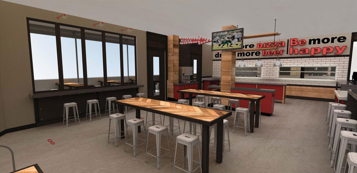 A rendering of the future Regents Pizzeria location.