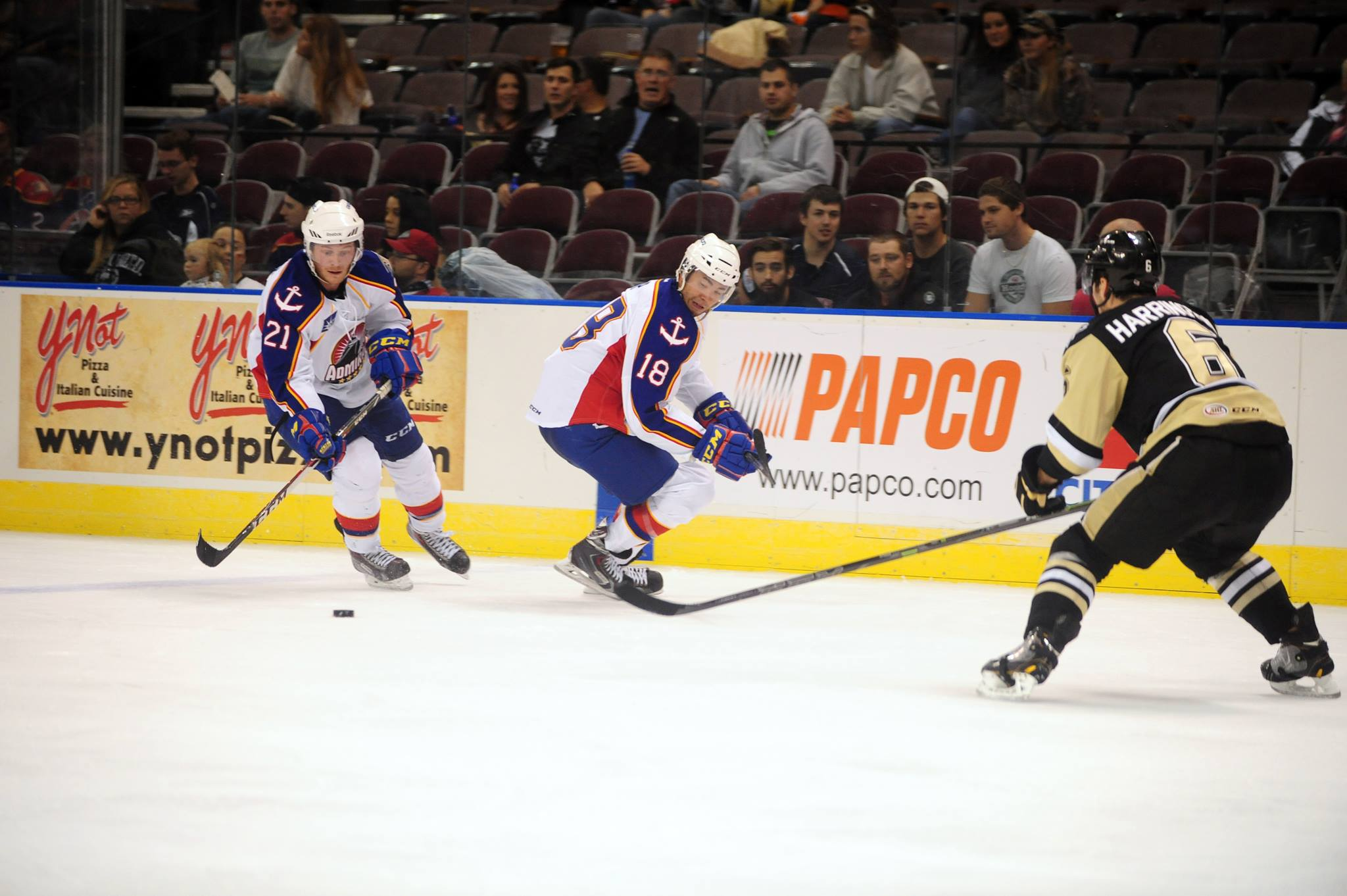 Chris Wagner and Brandon Yip powered the Admirals to a 3-2 OT win over the WBS Penguins Oct 31, 2014