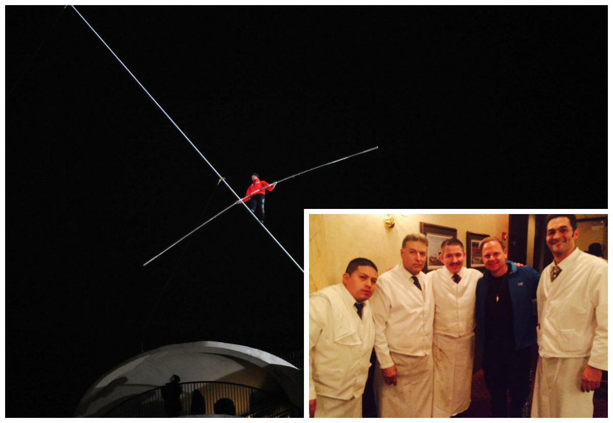 Nik Wallenda and staff from Gene & Georgetti Steakhouse.