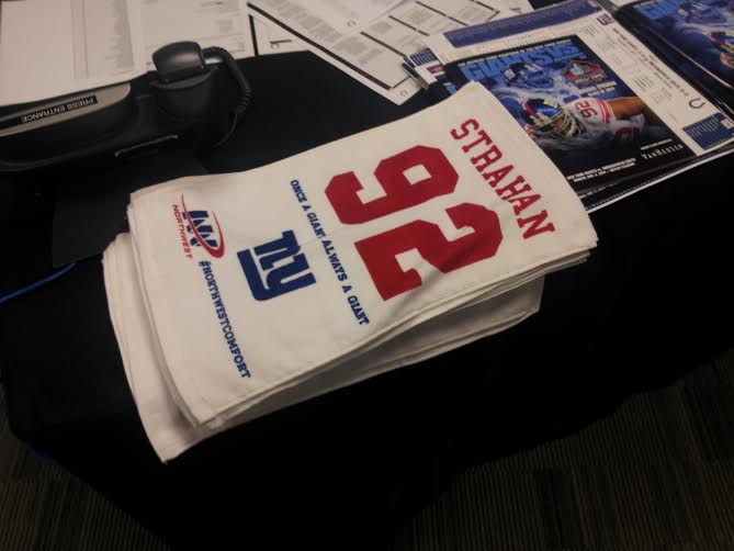 Fans received Strahan 92 towels at MetLife Stadium Monday night