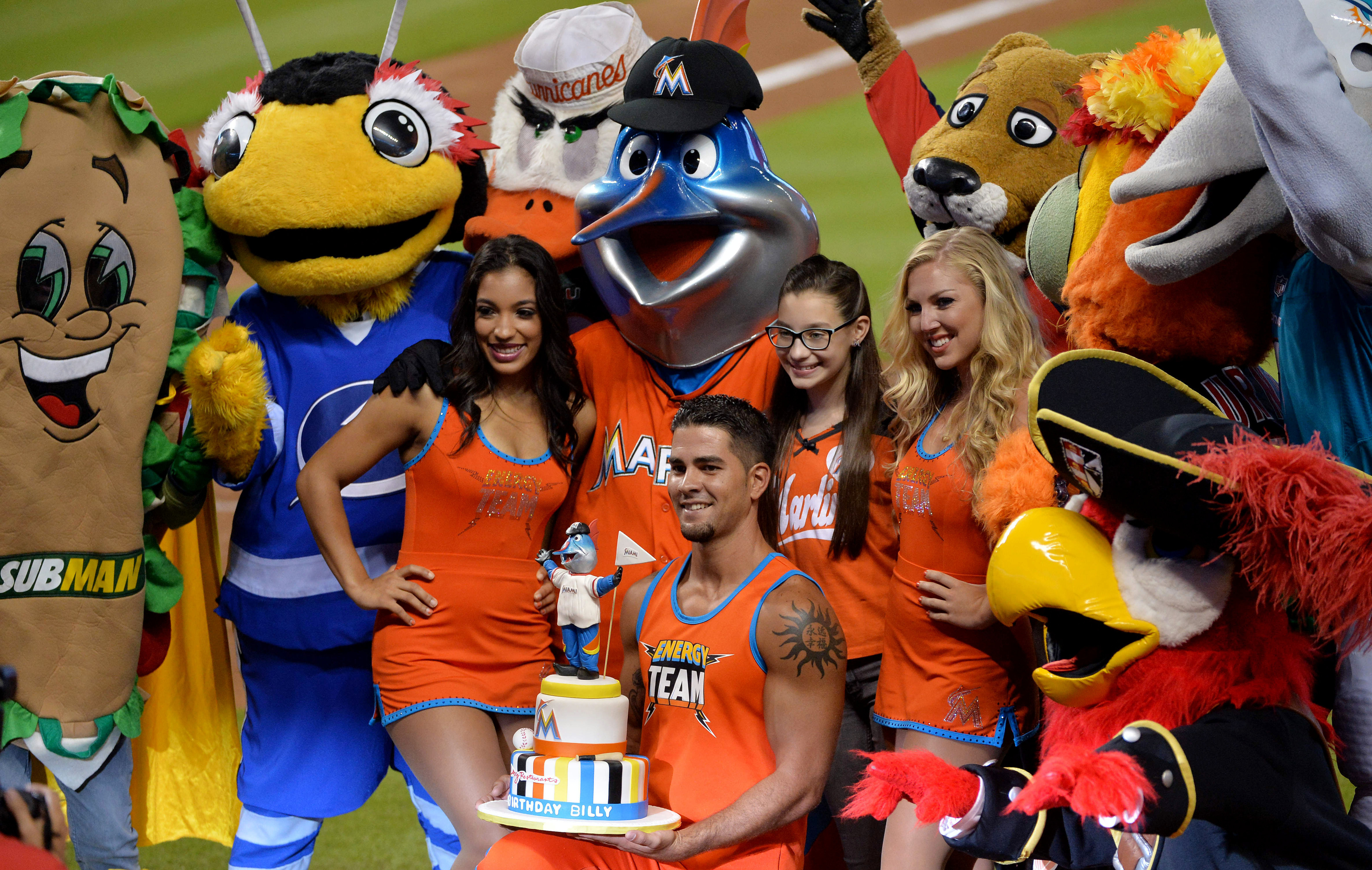 Billy the Marlin and the other mascots were in the running for funniest moment of the year for the Fish.