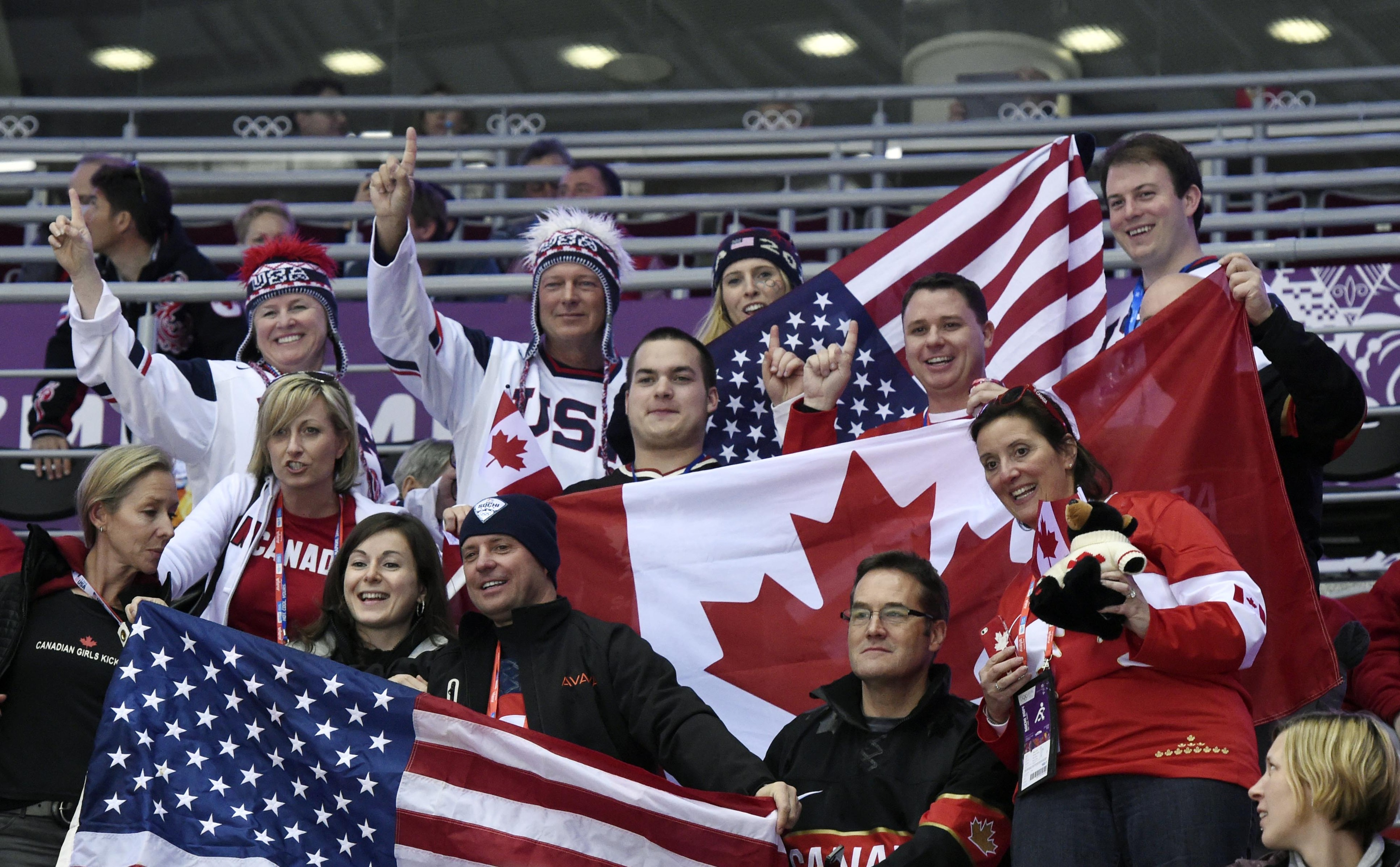 Fans at the Canada-USA game in Sochi