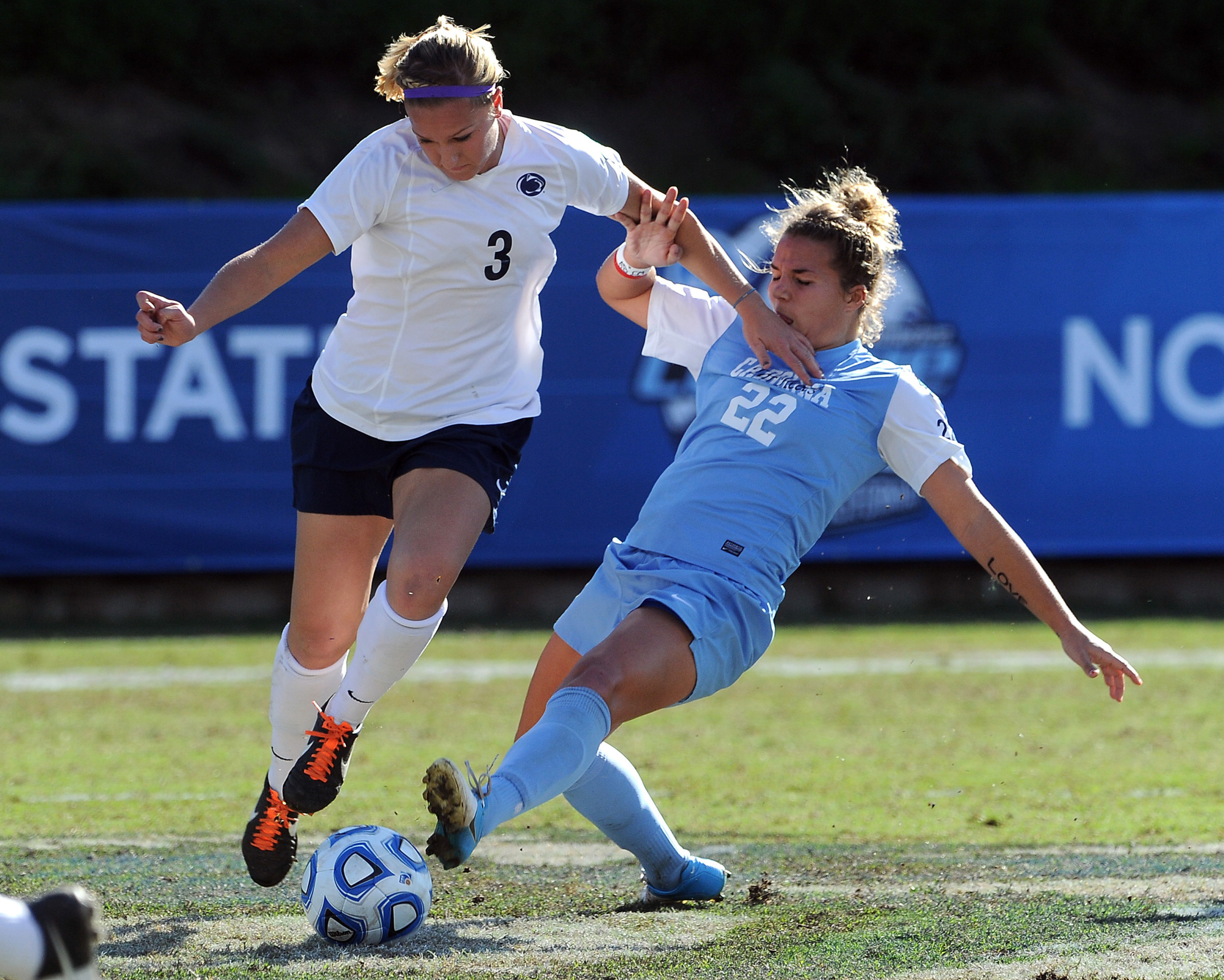Midfielder Emily Hurd in last year's National Championship game. Like a boss.