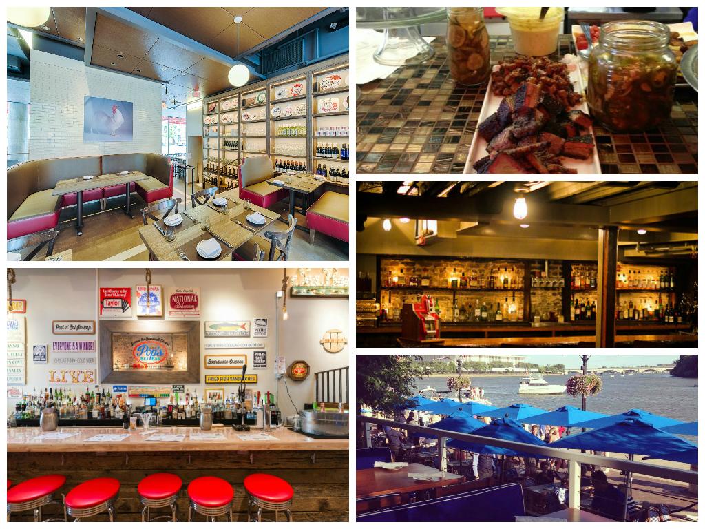 Clockwise: DBGB Kitchen + Bar, DCity Smokehouse, Dram & Grain, Fiola Mare, Pop's SeaBar