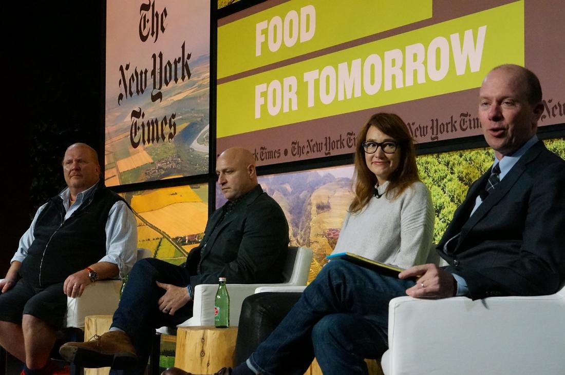 From left: Mario Batali, Tom Colicchio, Andrea Reusing, Sam Sifton