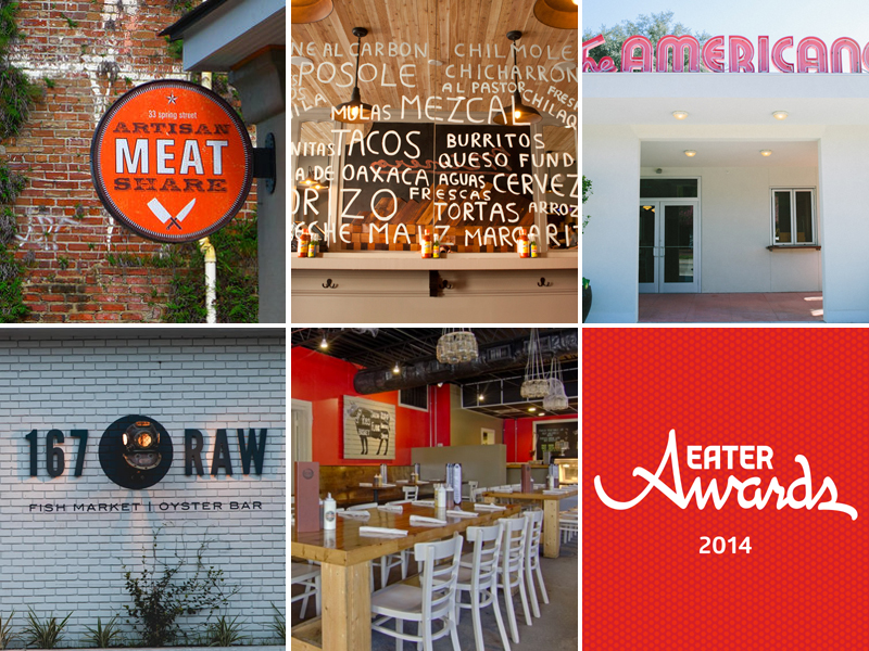 Clockwise from top left: Artisan Meat Share, Minero, The Americano, logo, Swig & Swine, 167 Raw