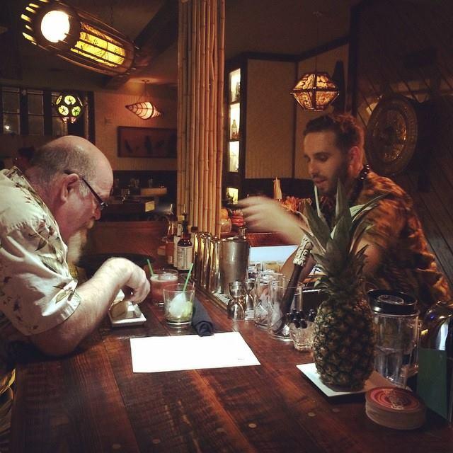 Hadi Ktiri serves legendary bar grump Paul Gustings
