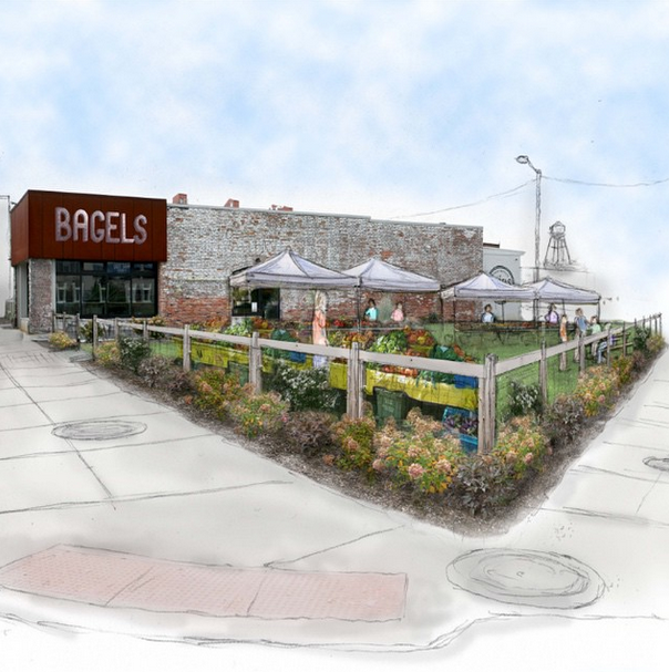 Rendering of the proposed community space beside Detroit Institute of Bagels.