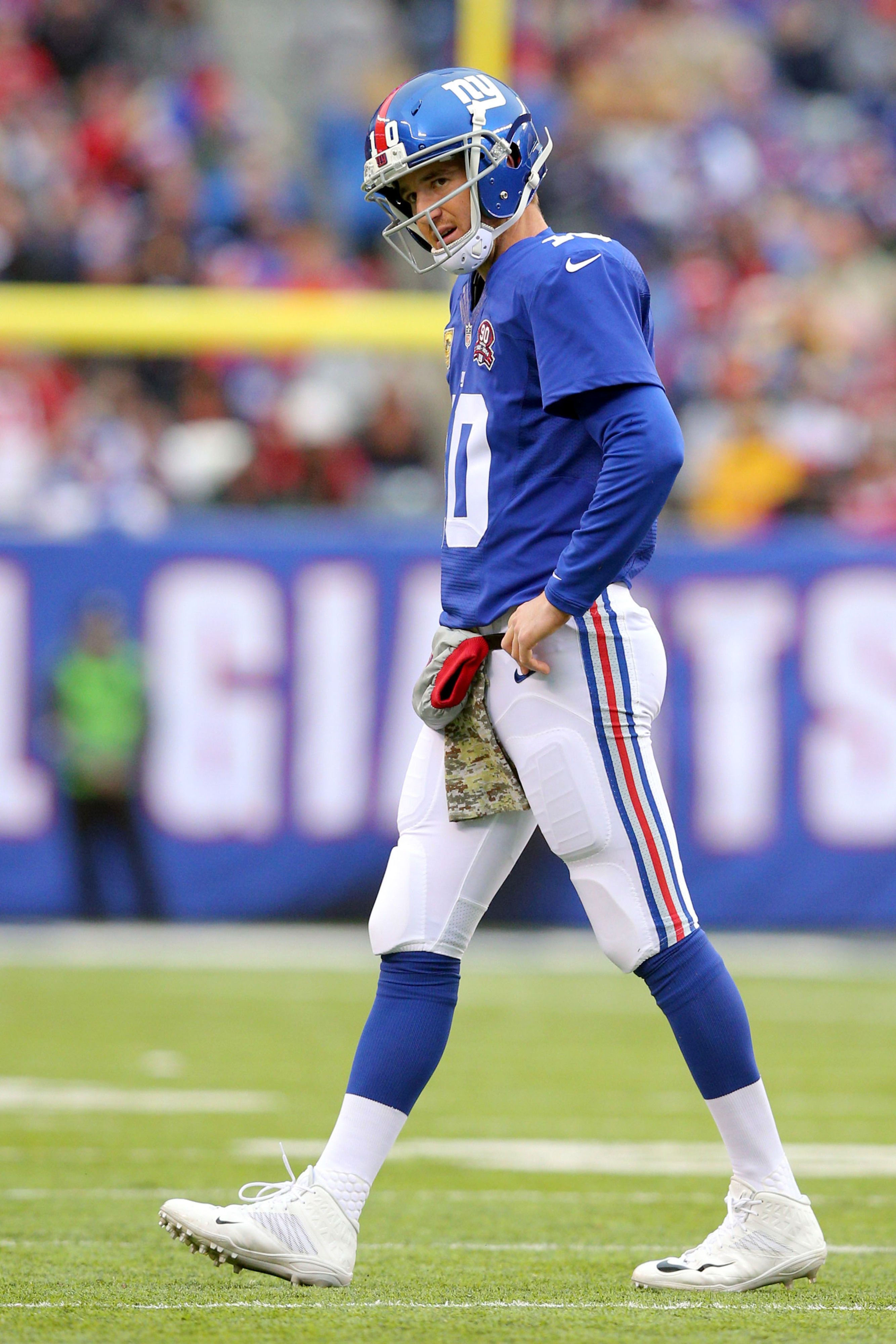 Eli Manning reacts to one of his five interceptions