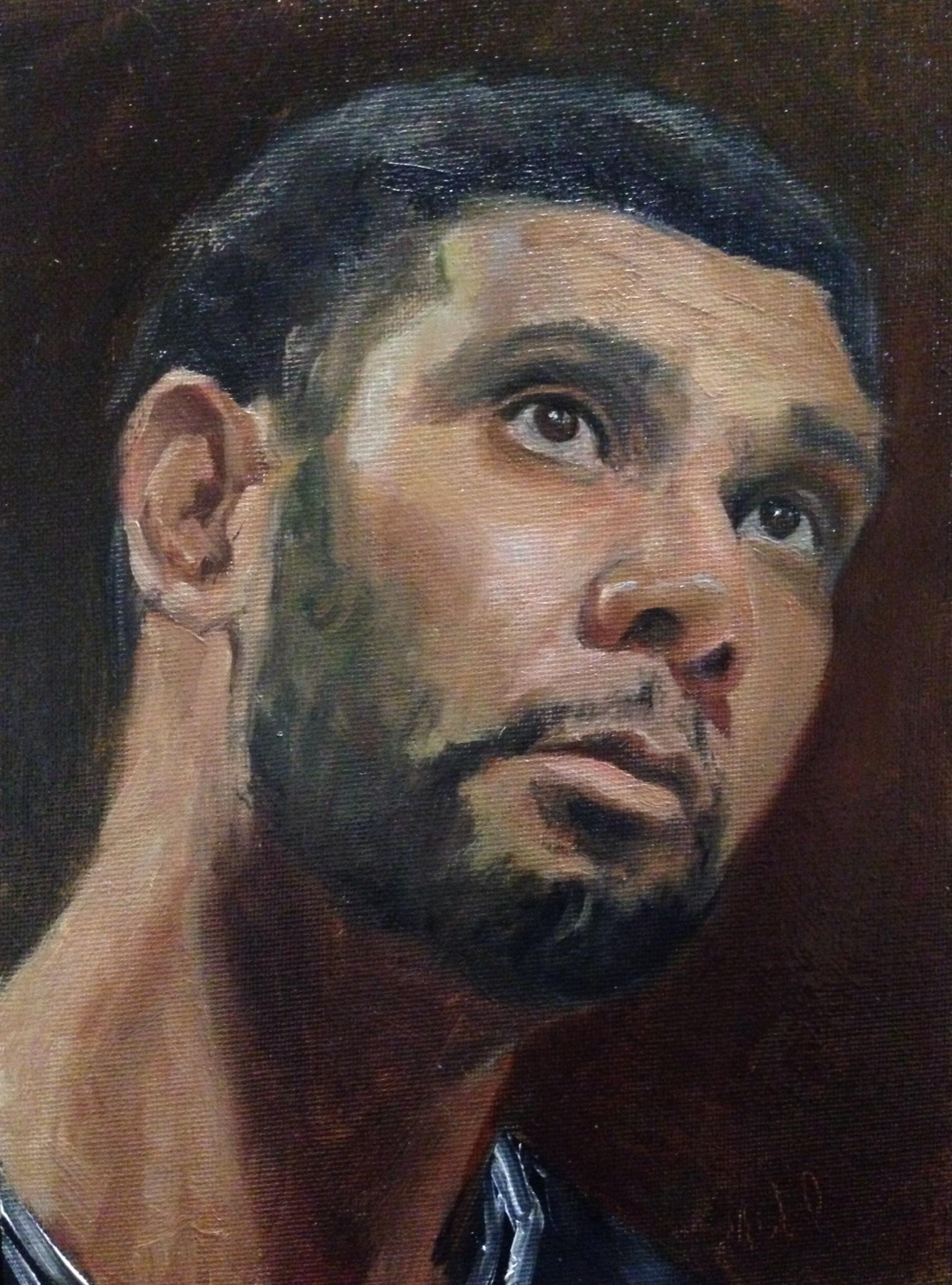 a portrait of tim duncan pounding the rock