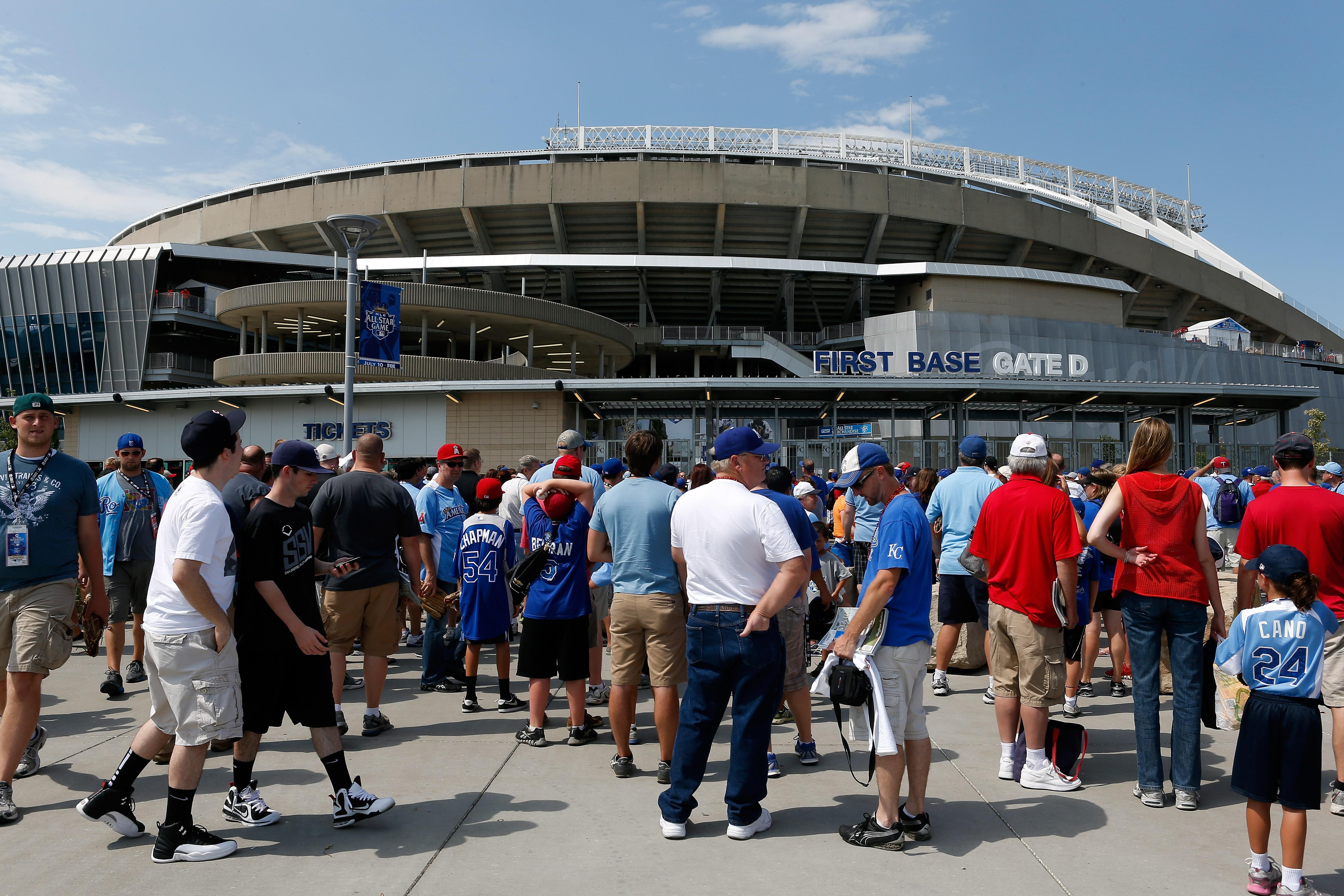 Royals fans line up outside Kansas City's Kauffman Stadium. Hopefully, they ate beforehand.