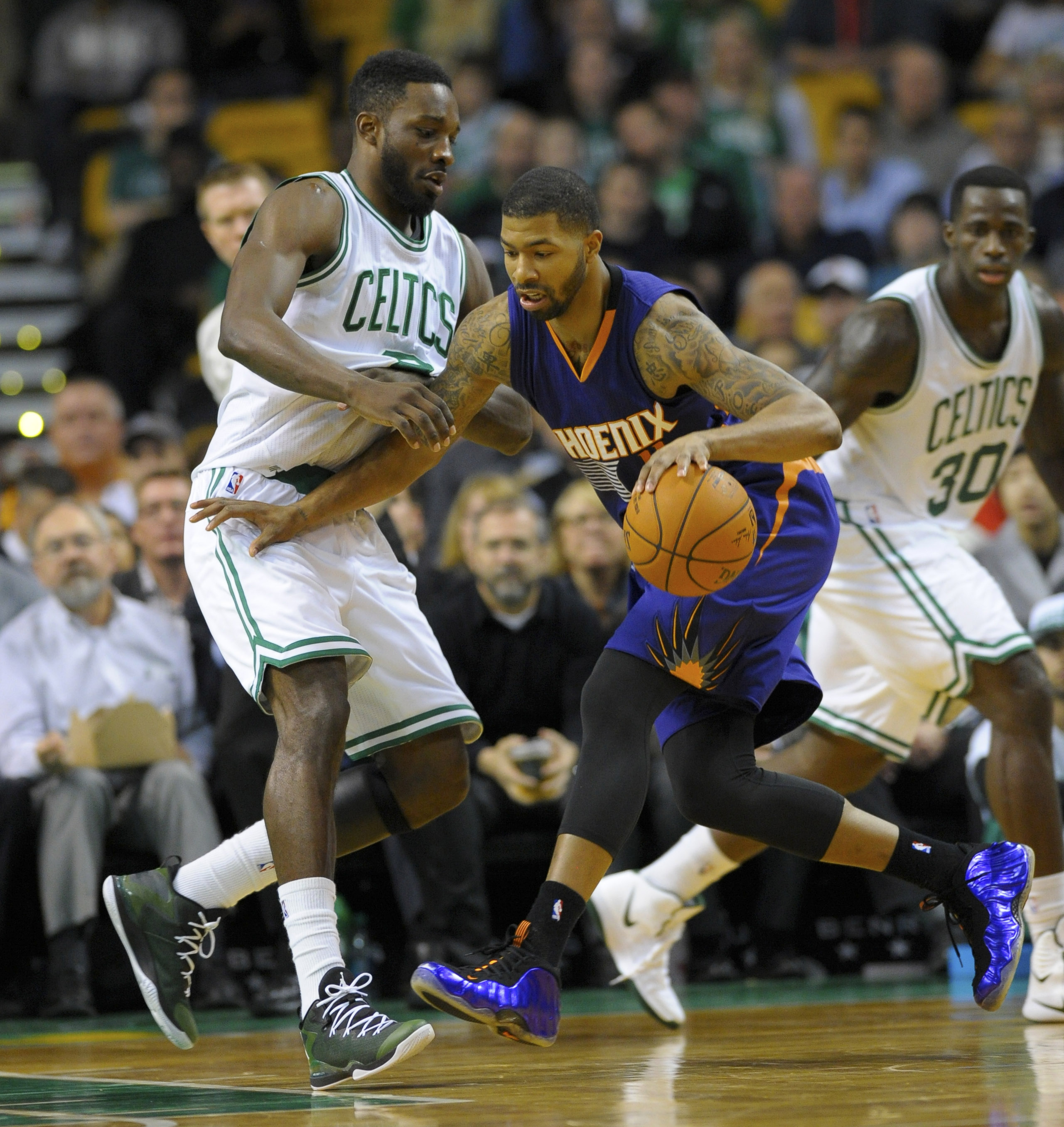 Jeff Green (L) and the Boston Celtics almost pulled off the upset against Marcus Morris (R) and the Phoenix Suns