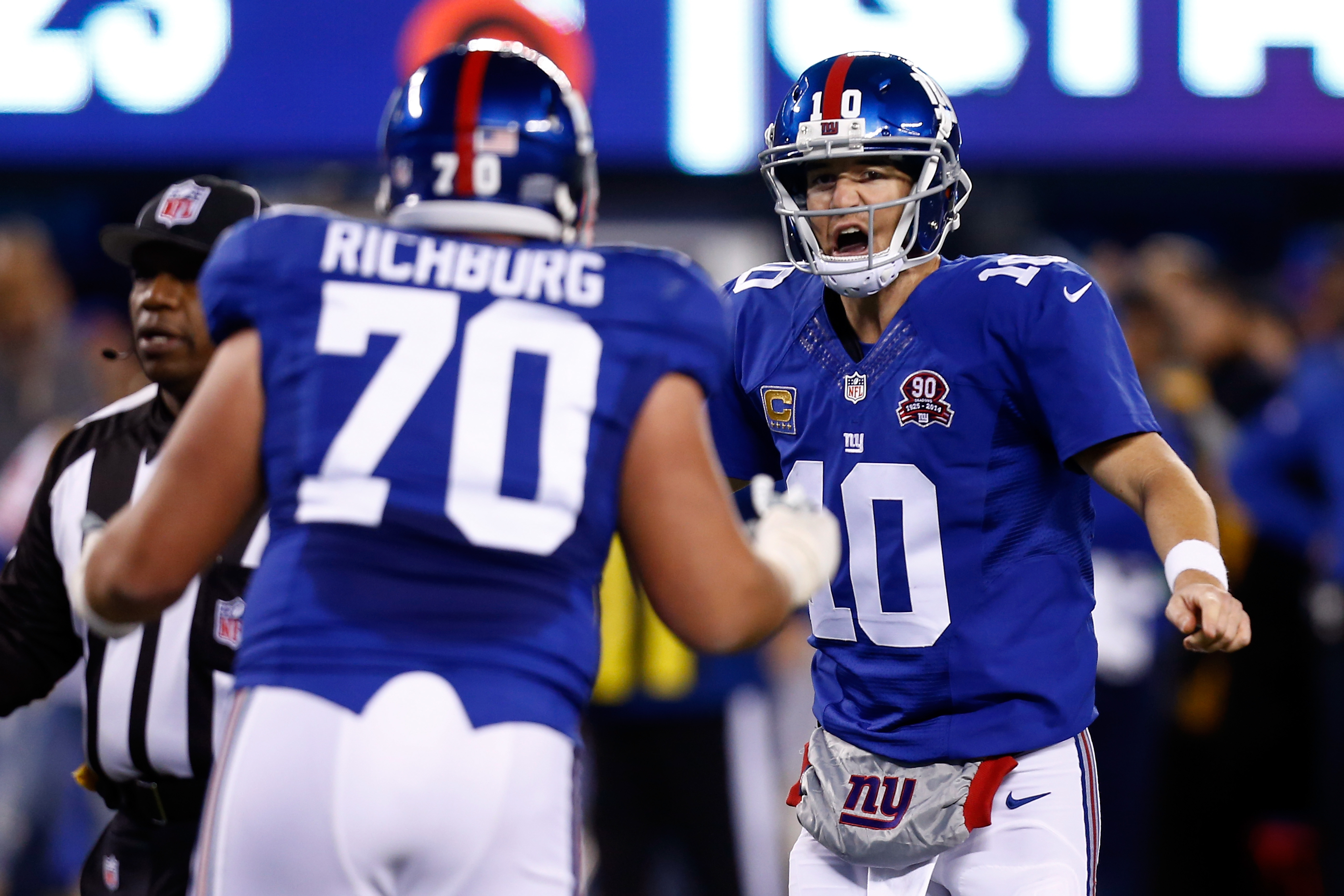 Weston Richburg (foreground) is expected to be benched on Sunday