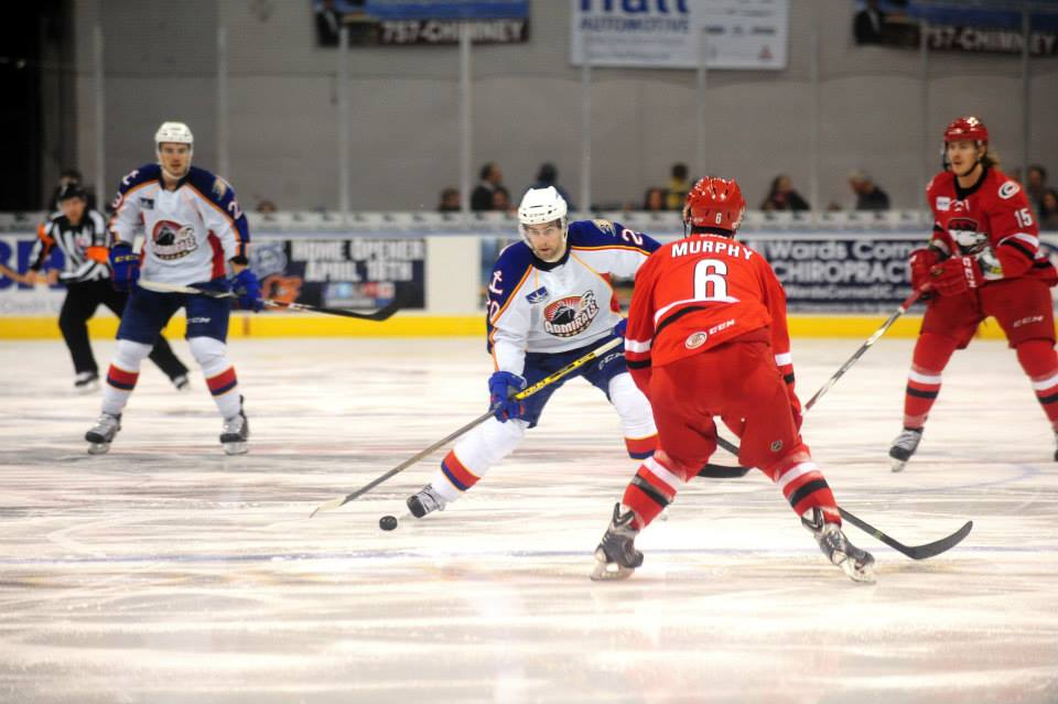 Louis LeBlanc lines up his first of two goals against the Charlotte Checkers 11/24/2014