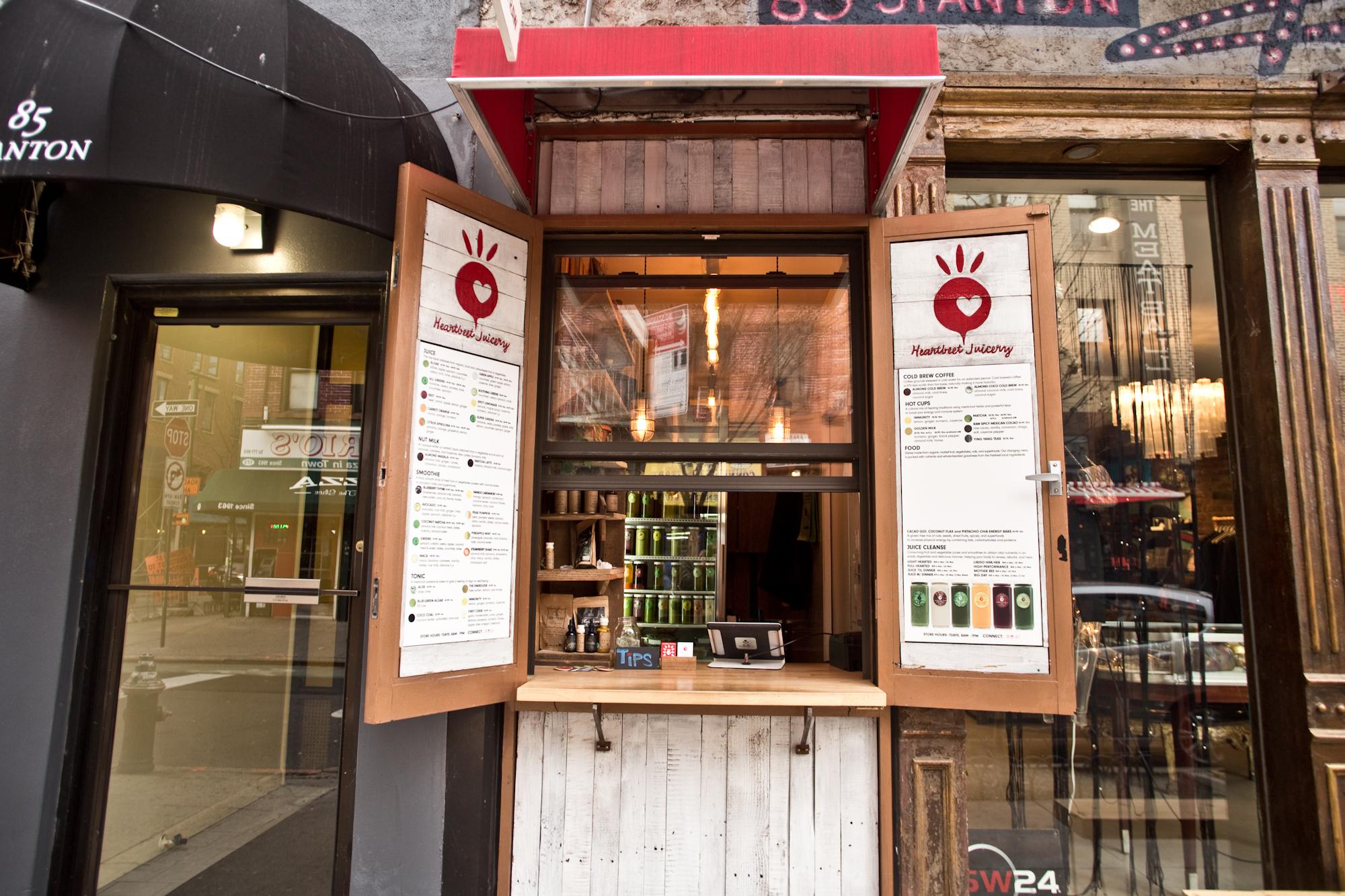 Outside Heartbeet Juicery on the Lower East Side.