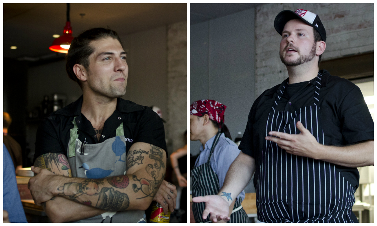 Sam Monsour and Mark O'Leary at The Future of Junk Food at La Brasa, September 2014