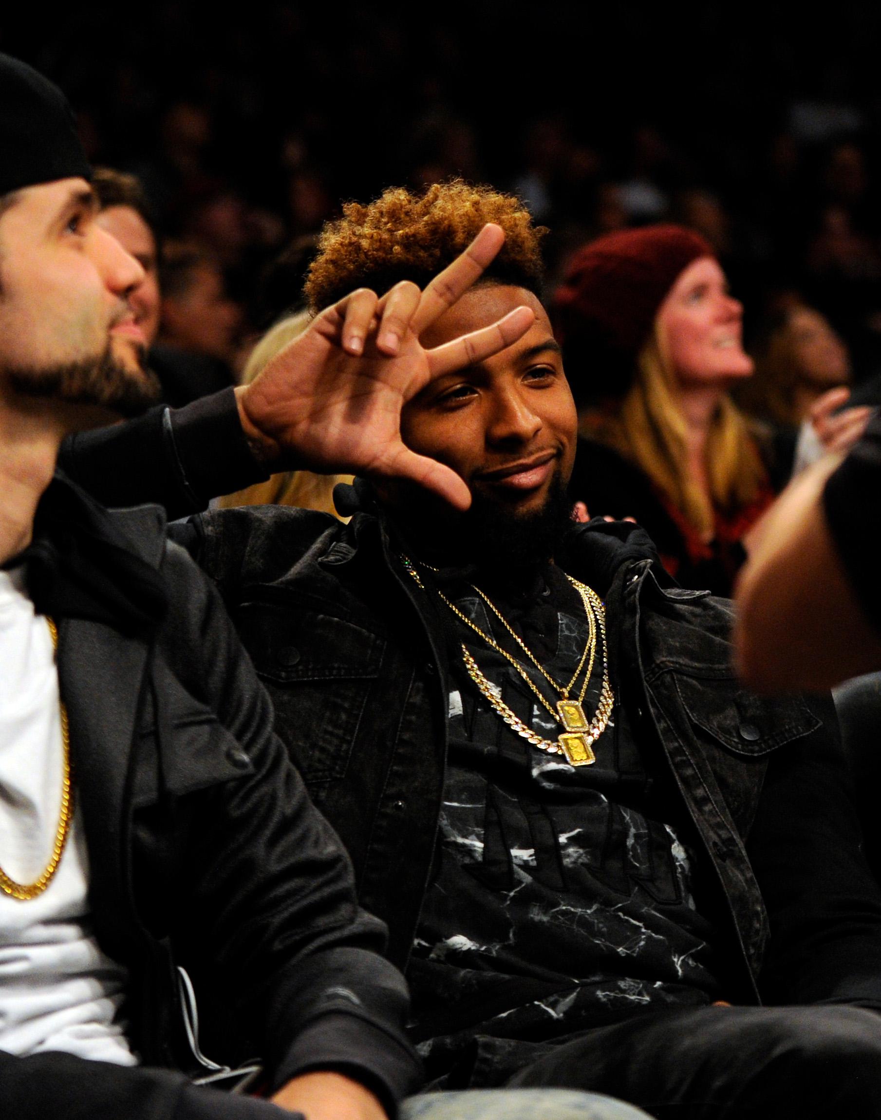 Odell Beckham attending a Brooklyn Nets-Cleveland Cavaliers NBA game