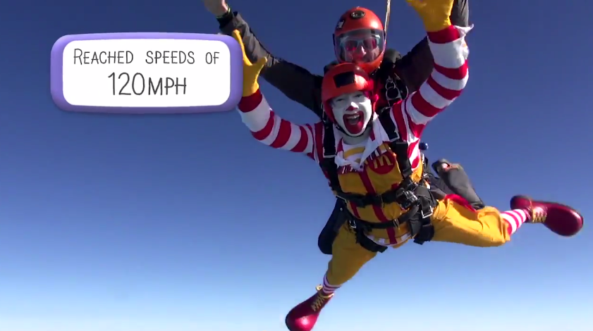 Watch Ronald McDonald Lose His Shit While Skydiving