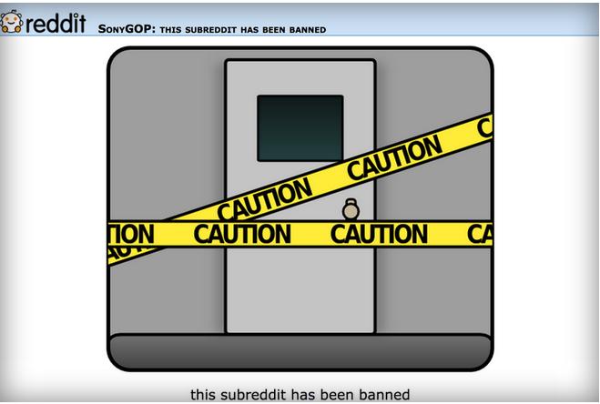 The banned subbreddit SonyGOP