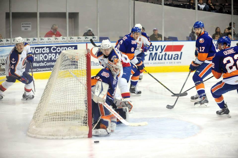 William Karlsson attempts to push the puck past Bridgeport Goaltender David Leggio Dec 19, 2014