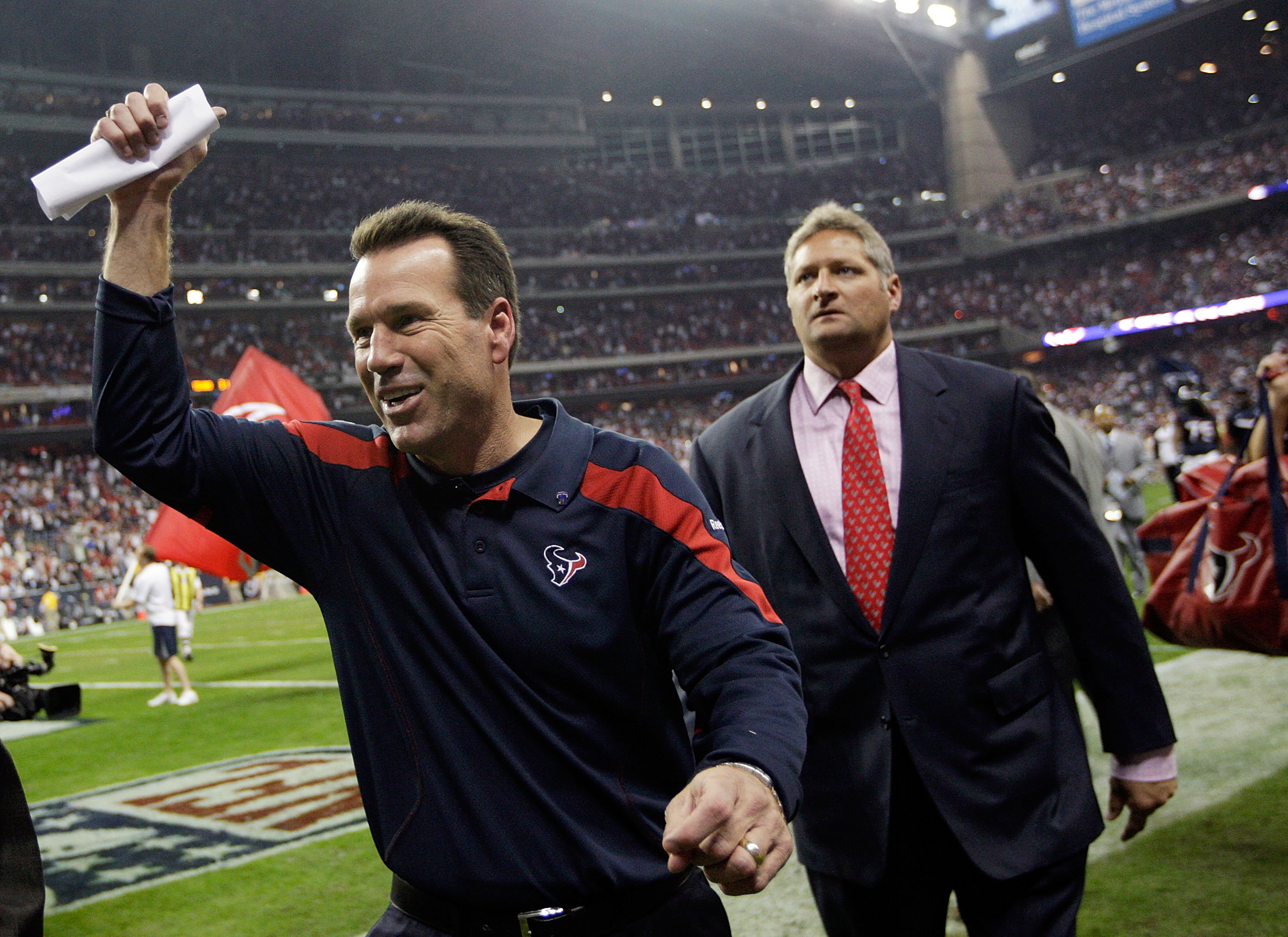 Gary Kubiak seems likely to be celebrating like this again today, except clad in Ravens gear.