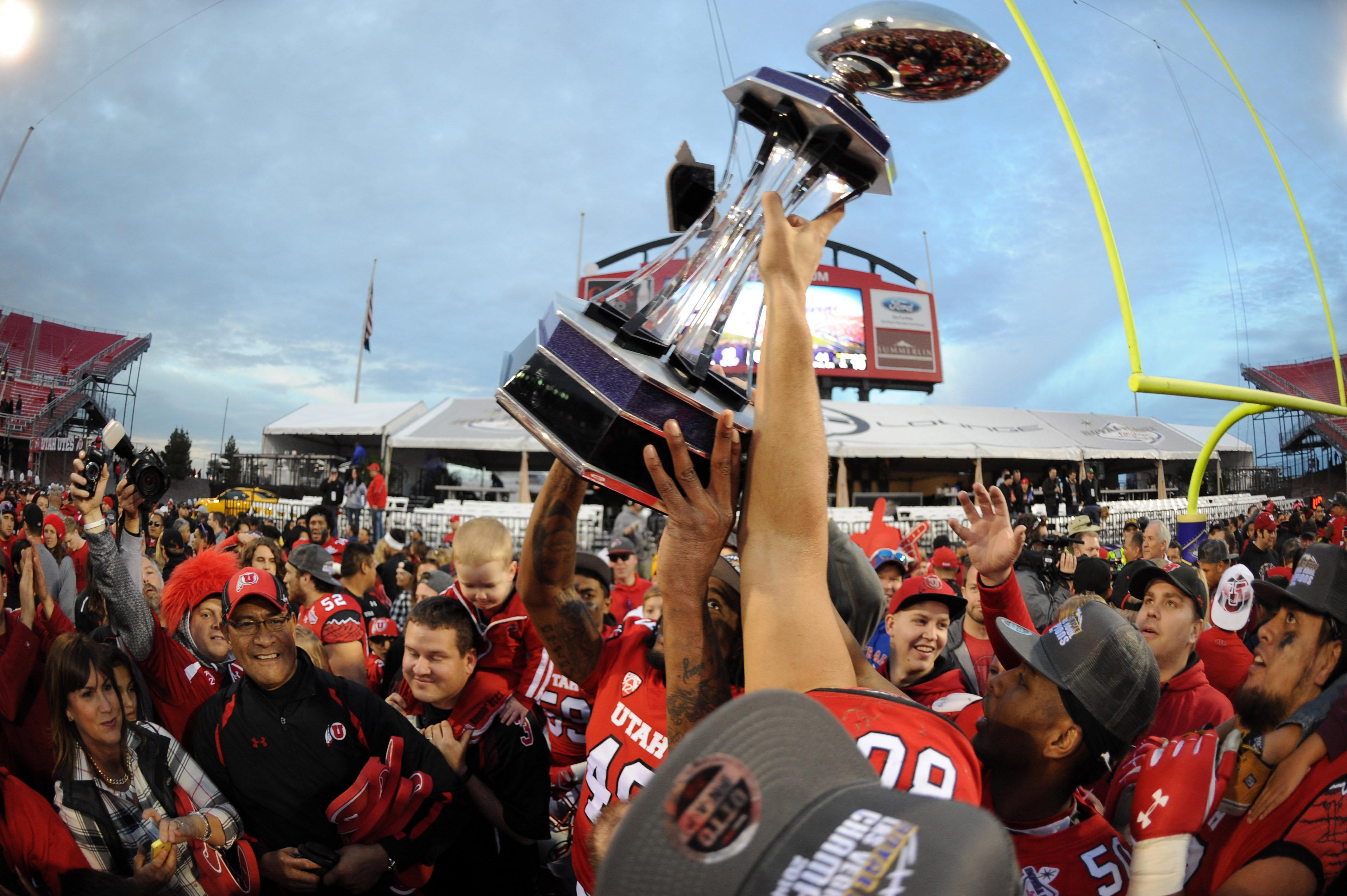 Utah captures it's 14th bowl title with the 45-10 route of Colorado State in the 2014 Royal Purple Las Vegas Bowl.