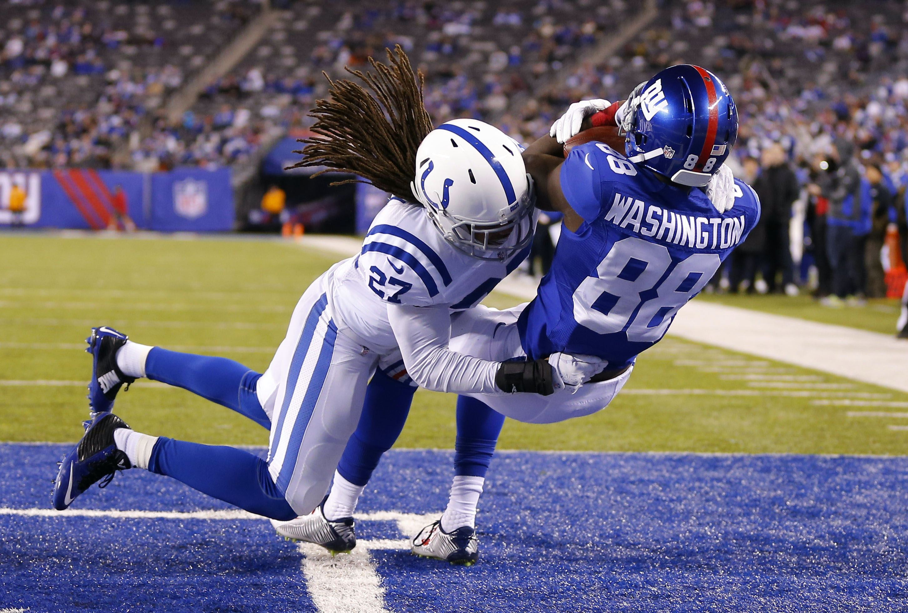 Corey Washington catches a touchdown pass against the Indianapolis Colts