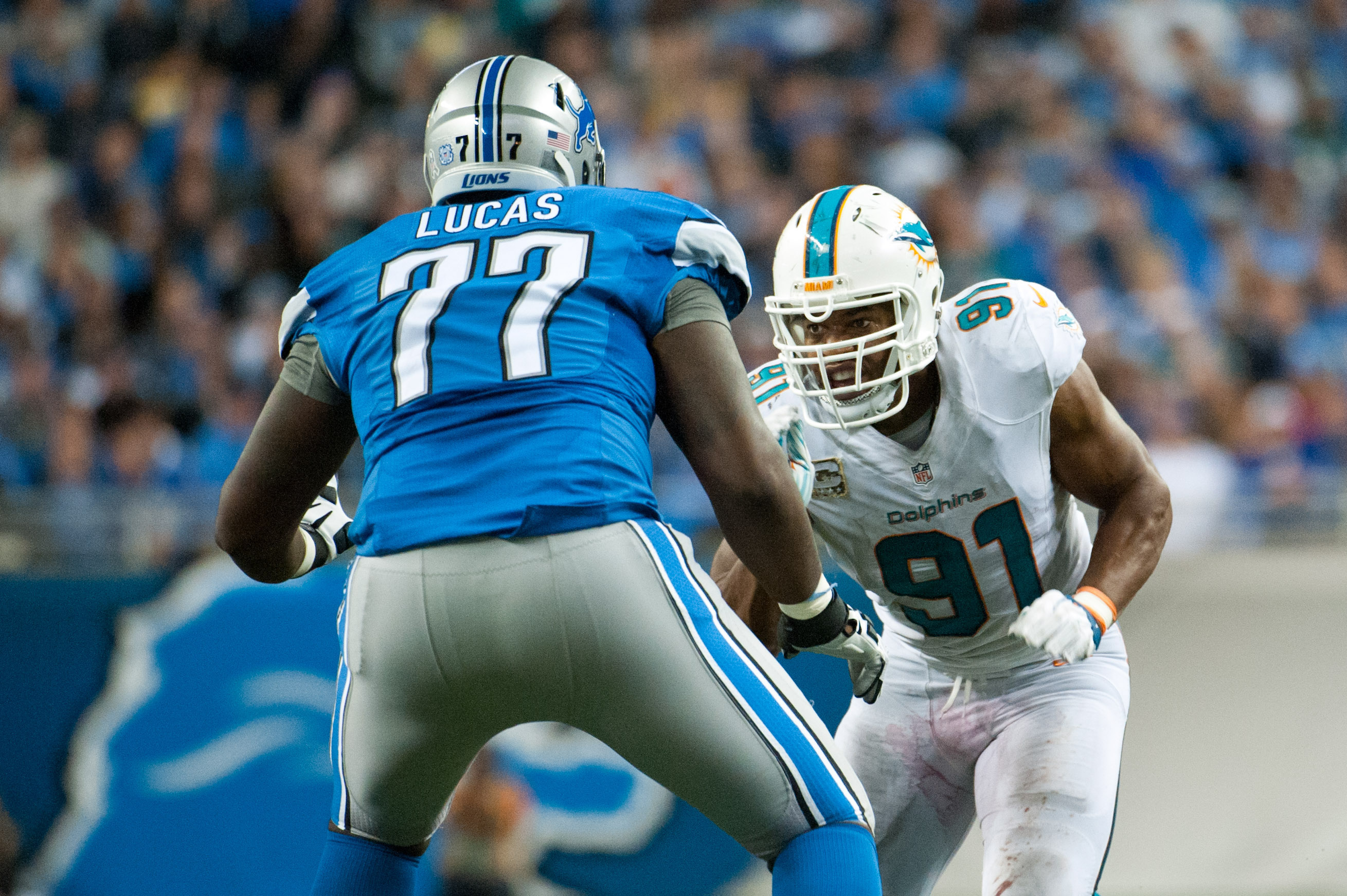 Corenlius Lucas made his second start of the season Sunday, this time at right tackle.