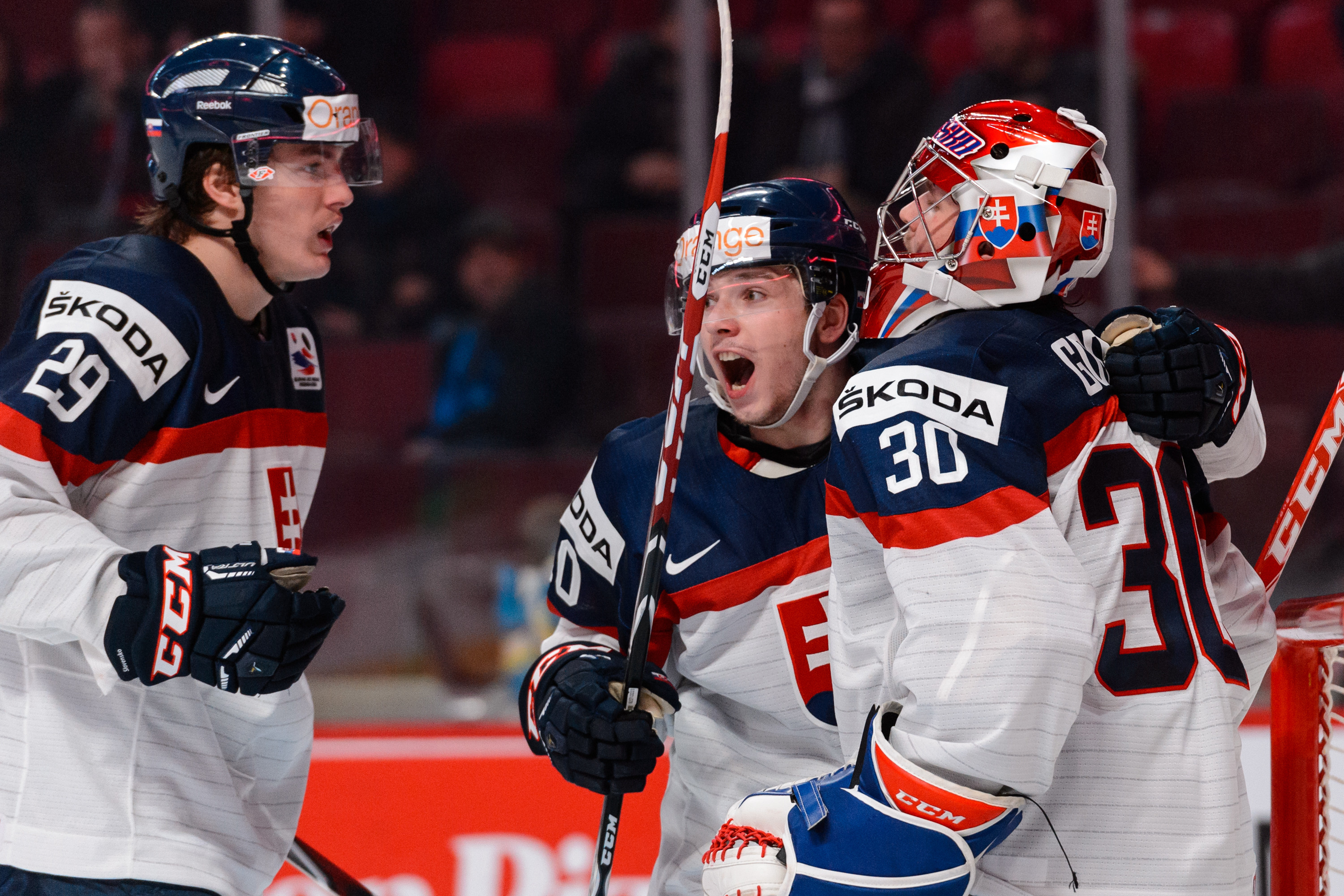 Slovakia' Denis Godla was the player of the day, making 37 stops in an upset win over Finland