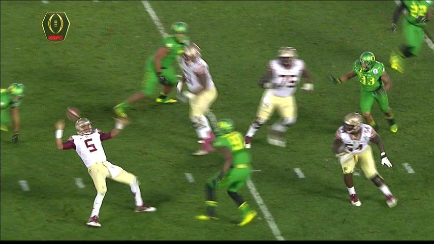 Jameis Winston falls, flails, fumbles, Oregon scores a TD