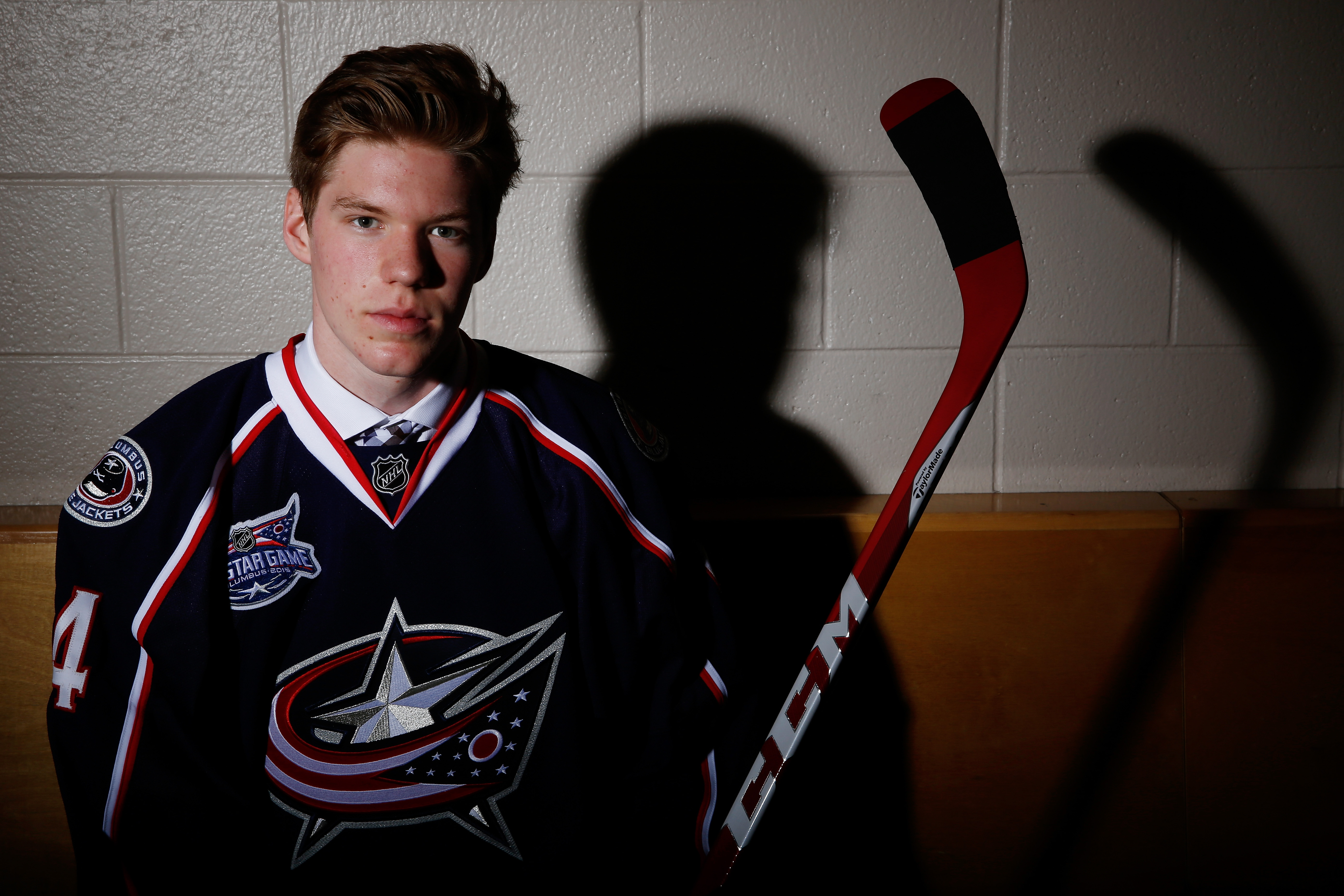 Minnesota freshman D Ryan Collins, seen here after being drafted by Columbus in the 2014 NHL Draft