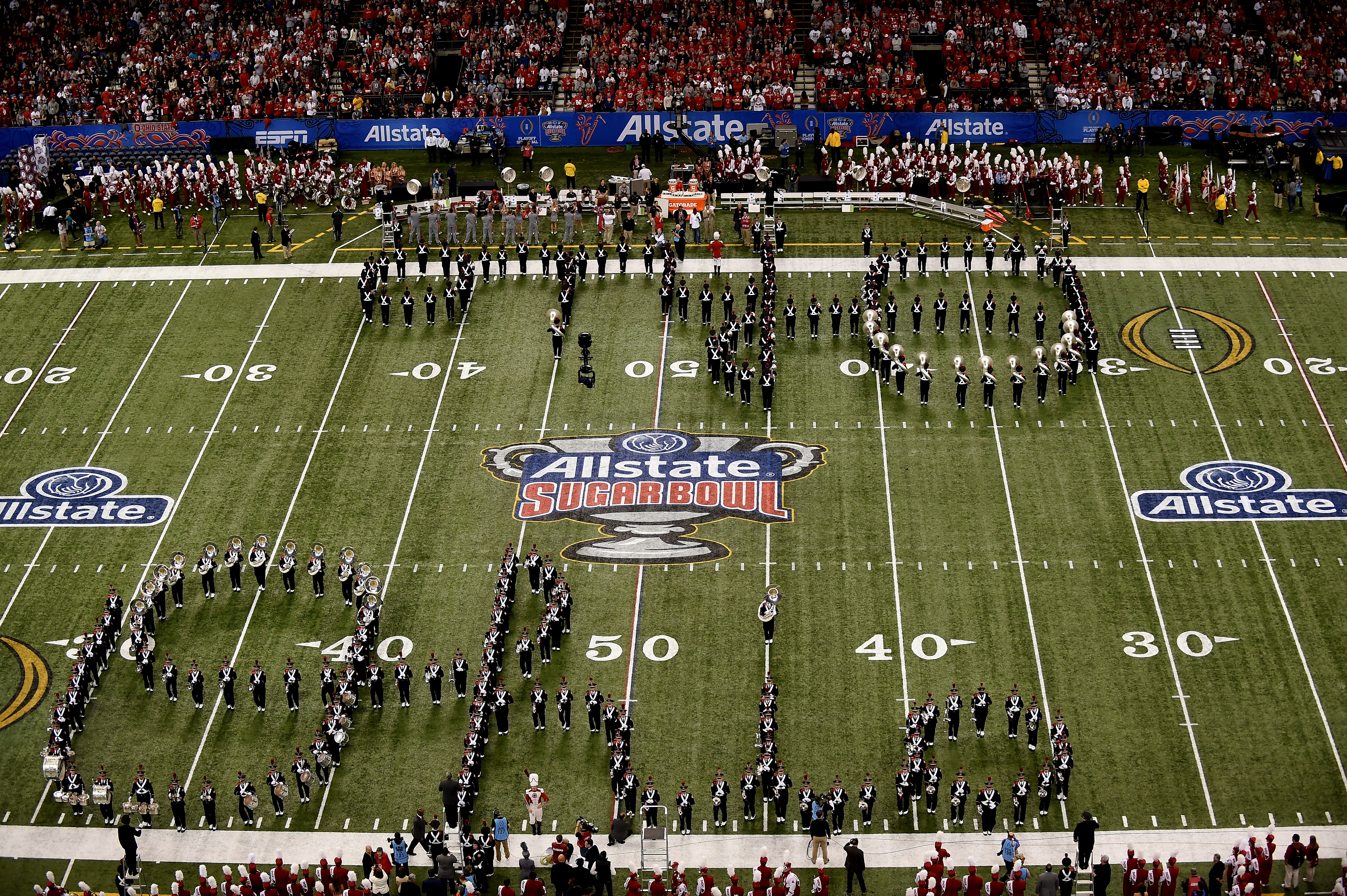 Ohio State marching band performs at the Sugar Bowl.