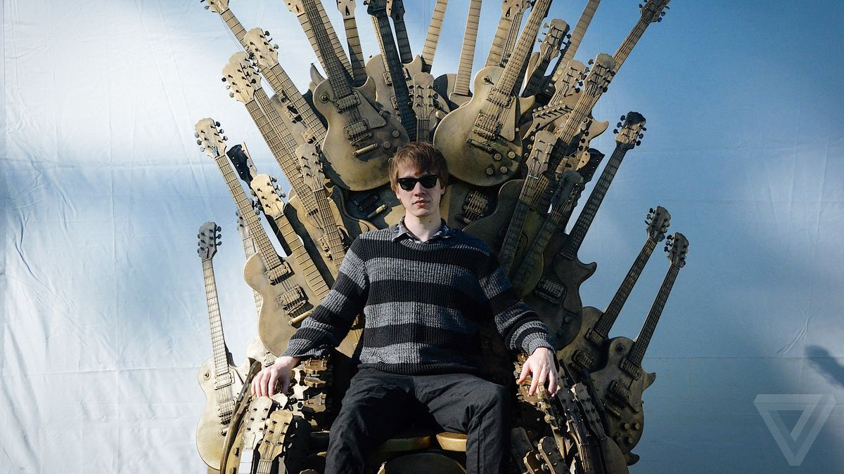 Here's the Iron Throne from Game of Thrones made out of guitars