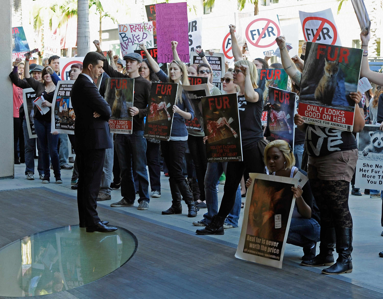 PETA protestors demonstrating earlier this year in Beverly Hills.