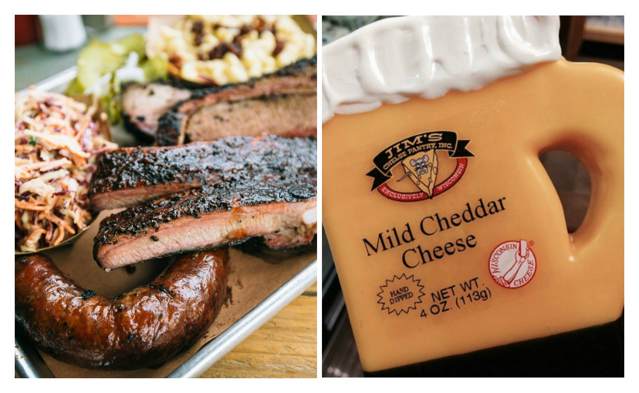 Pecan Lodge barbecue vs. potential spoils from Wisconsin: beer-shaped cheese.