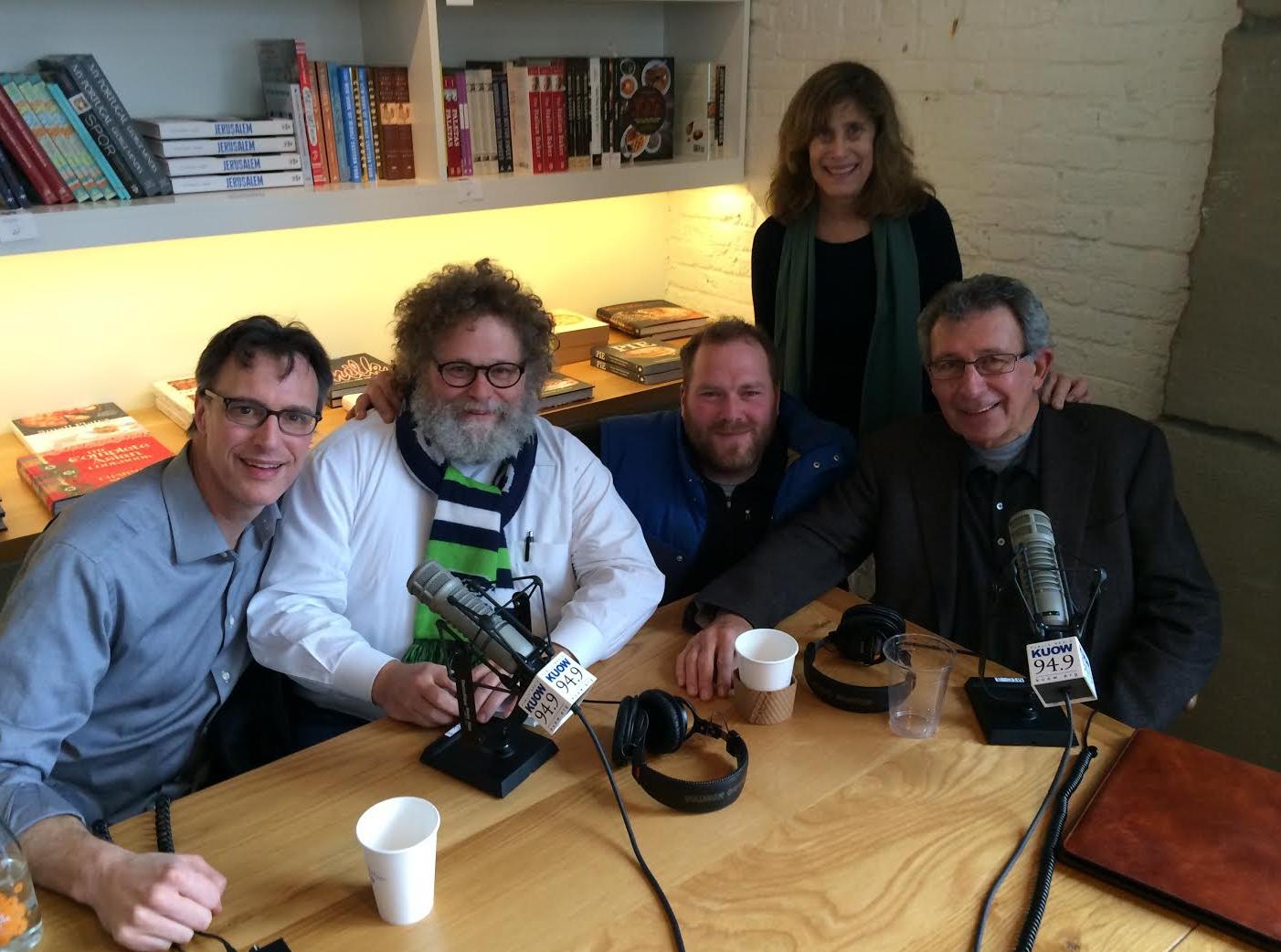 Dillon on the Week in Review Panel. [L-R] Host Bill Radke, Knute Berger, Matt Dillon, Joni Balter, former Seattle Mayor Charles Royer