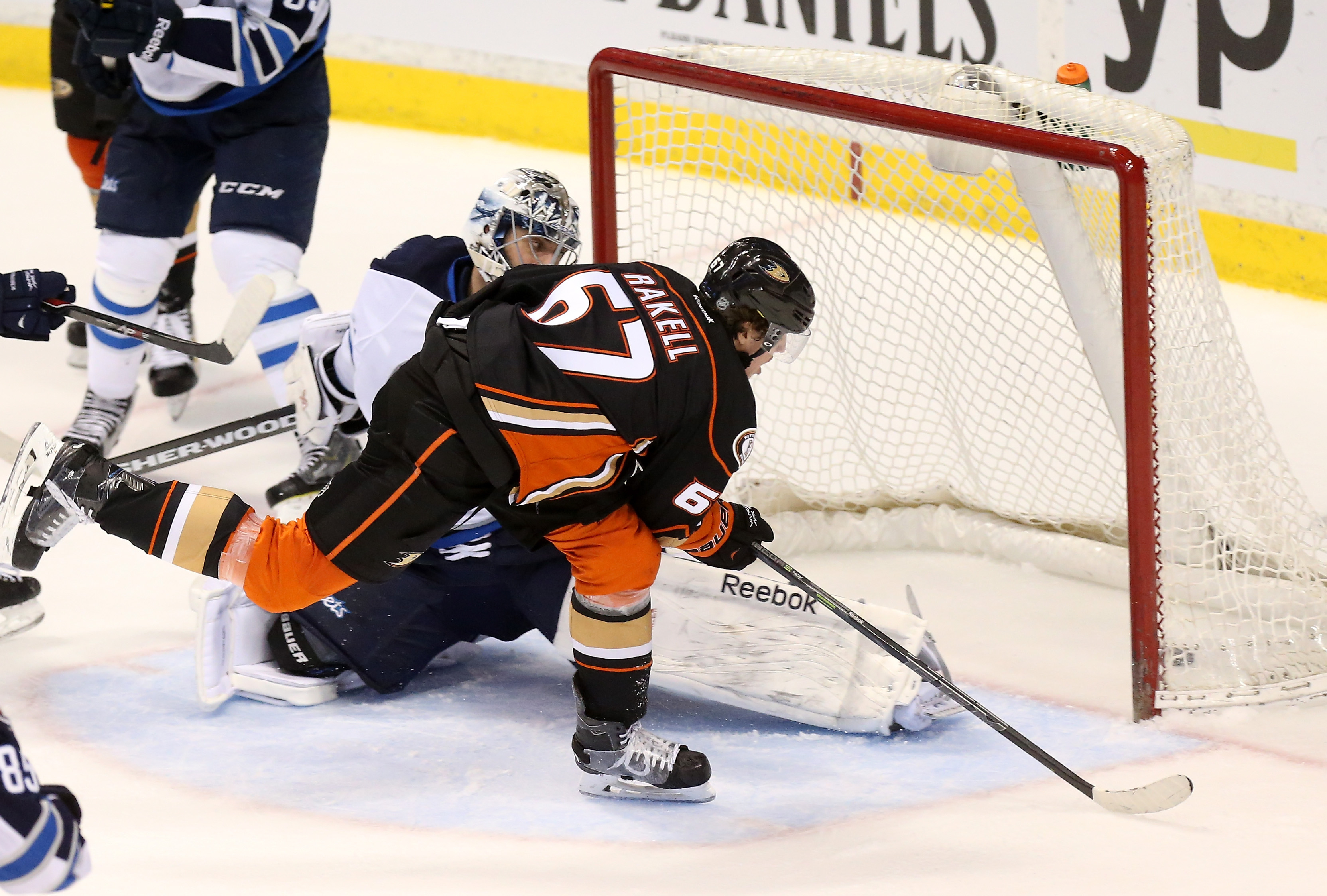 Rickard Rakell scores the game-tying goal during the third period.