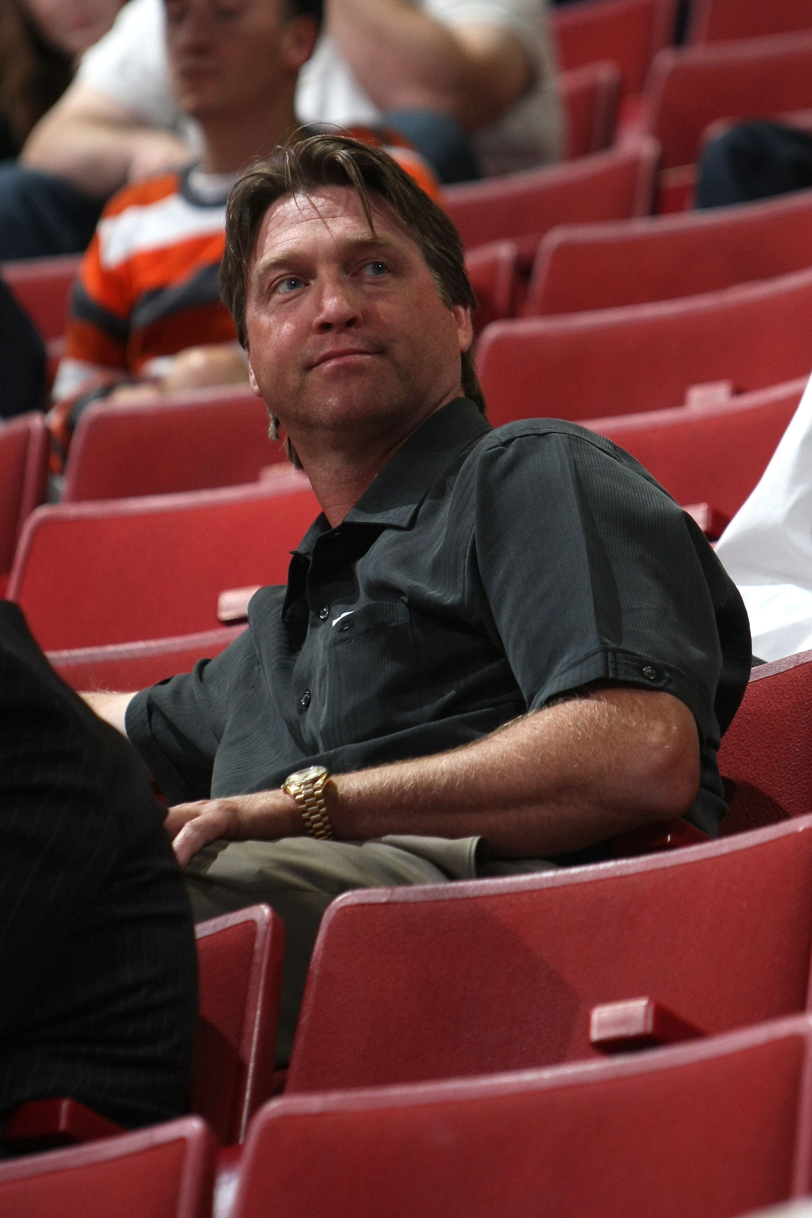 Patrick Roy looks on from the stands during the second day of the 2009 NHL Entry Draft at the Bell Centre on June 27, 2009 in Montreal, Quebec, Canada.