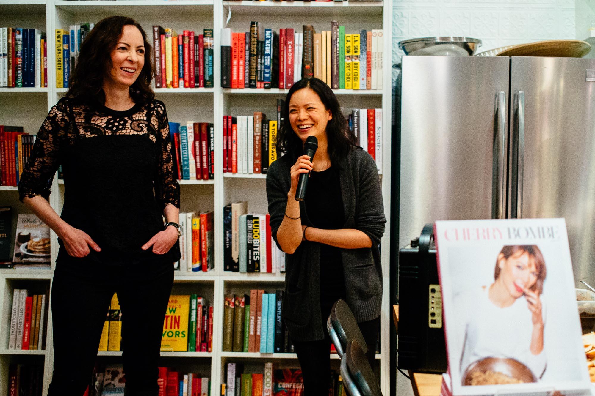 Cherry Bombe's Kerry Diamond [L] and Claudia Wu [R] Monday night at Book Larder.