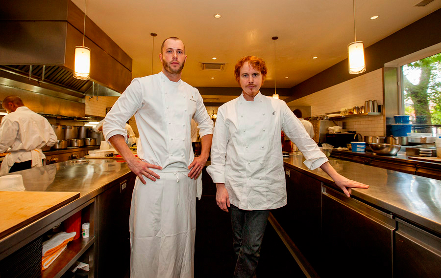 Mike Bagale and Grant Achatz in Alinea's kitchen.