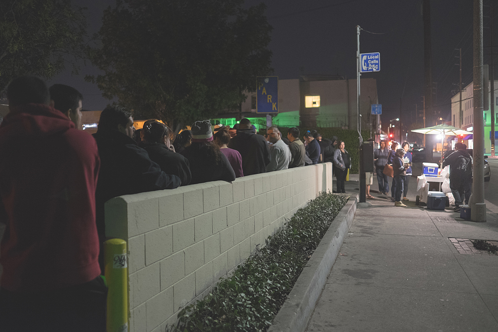 Line outside the Corn Man on Wednesday, January 14