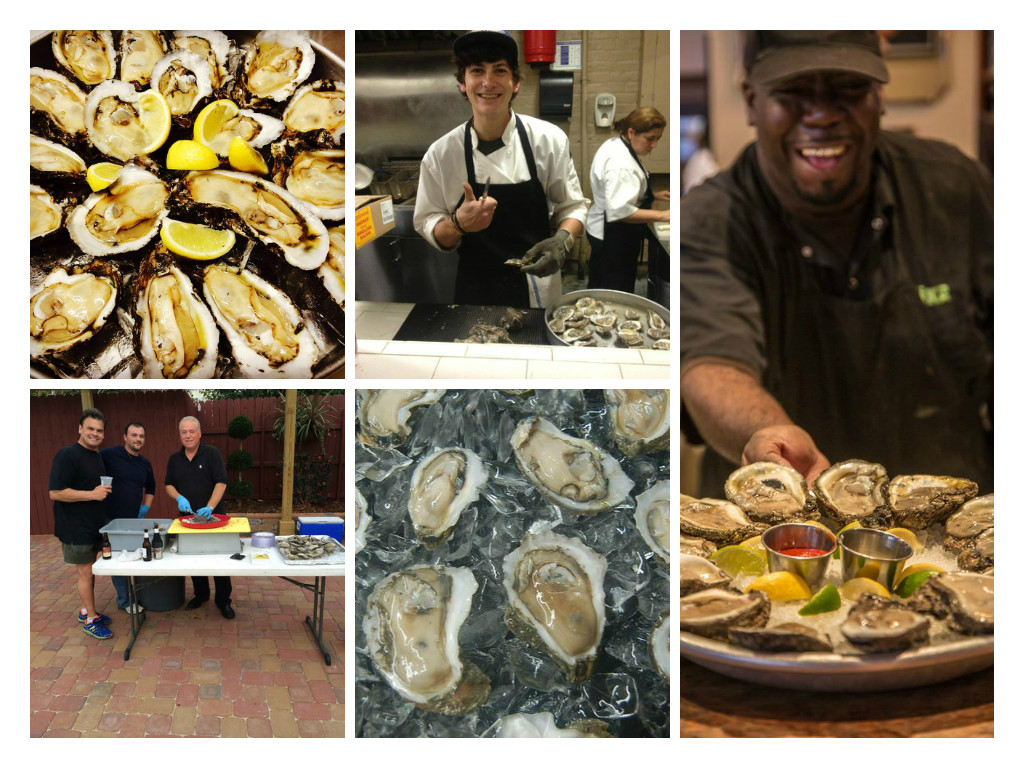 Shucking oysters at Winston's,  Basin, and Luke.