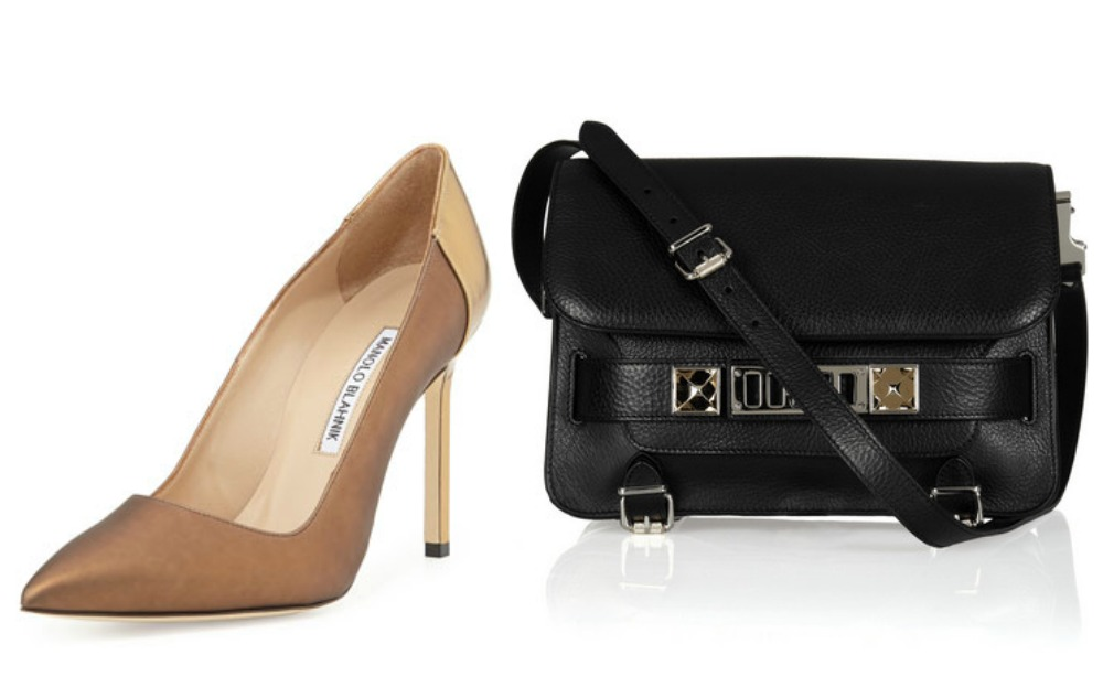 """Photos, from left: Manolo Blahnik BB coated satin combo pump in brown, <a href=""""http://www.bergdorfgoodman.com/Manolo-Blahnik-BB-Coated-Satin-Combo-Pump-Brown/prod100670100_cat421105__/p.prod?icid=&amp;searchType=EndecaDrivenCat&amp;rte=%252Fcategor"""