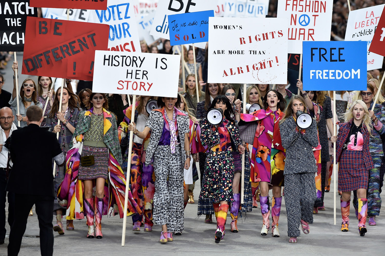 Chanel's mock–feminist rally runway show. Image: Getty.