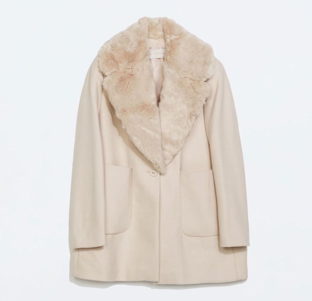 """<a href=""""http://www.zara.com/us/en/woman/outerwear/coat-with-fur-lapel-and-patch-pockets-c269183p2038020.html"""">Coat with fur lapels and patch pockets</a>, $169 at Zara"""