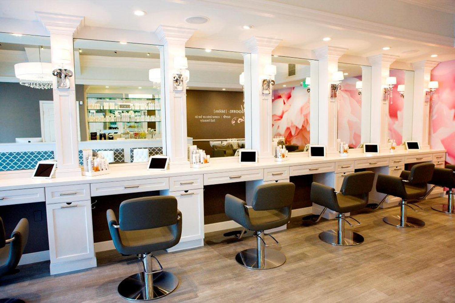 Styling stations at the newly-opened Bloom Blow Dry Bar. Courtesy image.