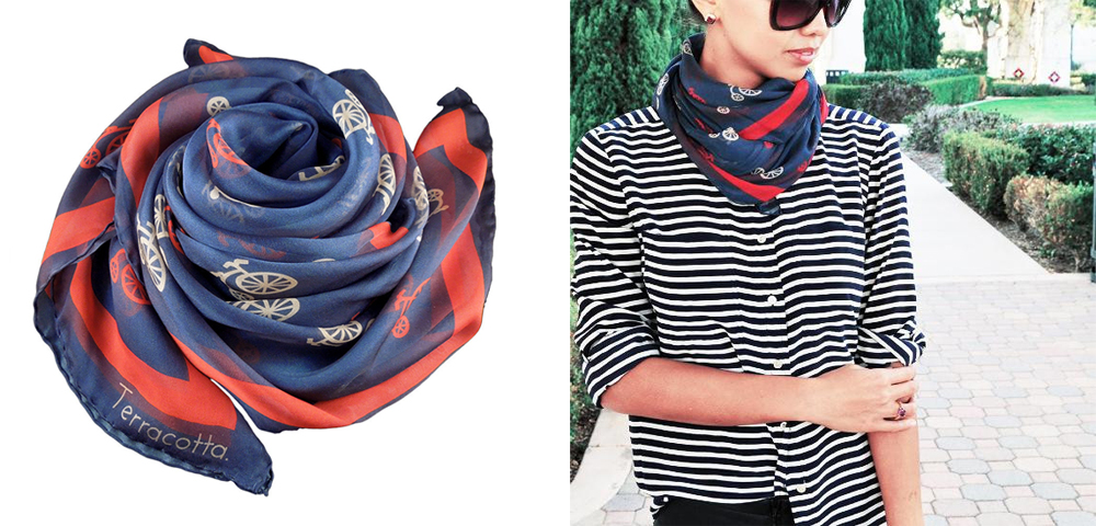 """Bailey Bicycle Silk Scarf Varsity Blue, <a href=""""http://www.terracottanewyork.com/collections/scarves/products/the-bailey-red-and-tan-bicycles"""">$225</a>"""